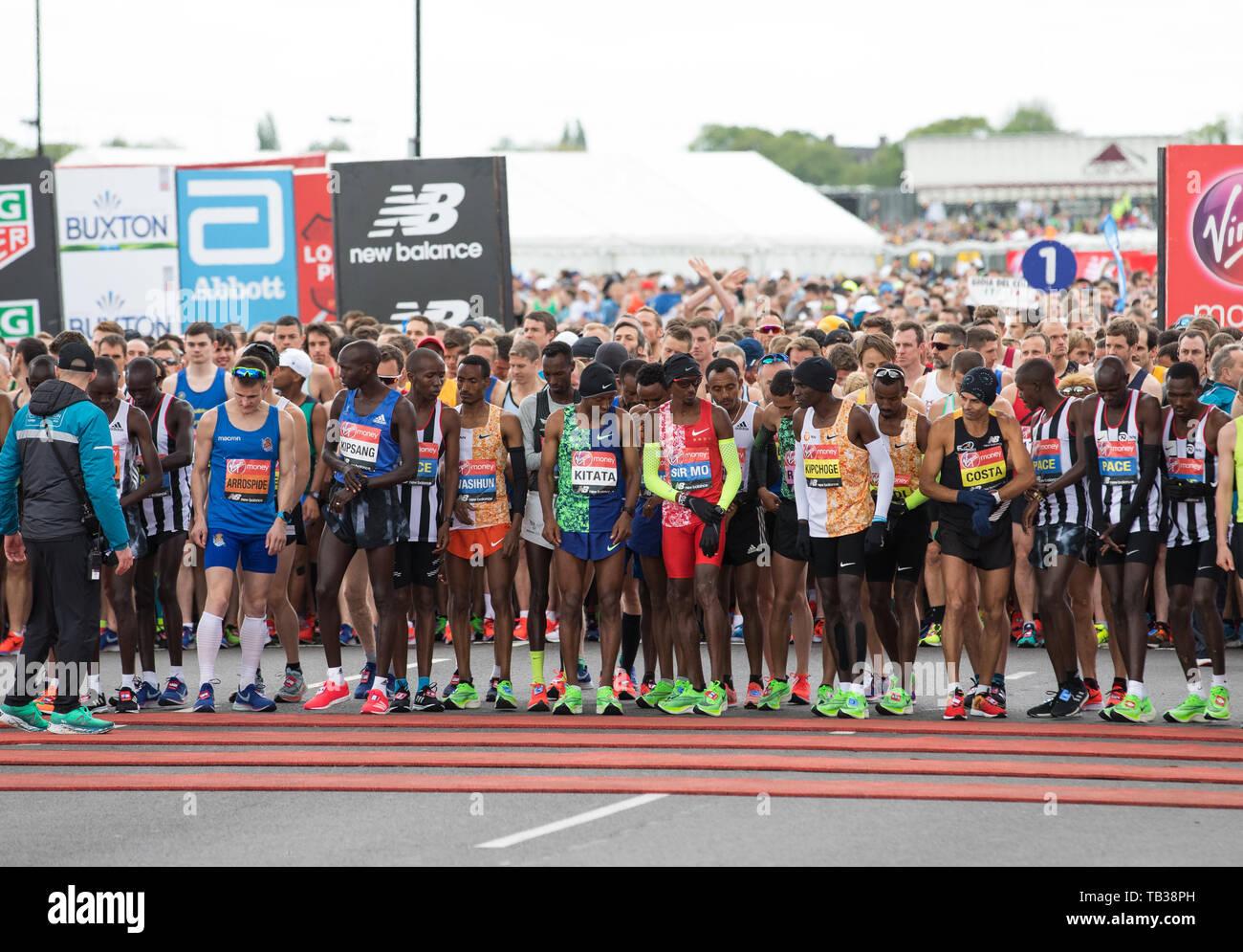 Celebs attend Virgin Money London Marathon Photocall 2019  Featuring: Atmosphere, Elite runners Where: London, United Kingdom When: 28 Apr 2019 Credit: Phil Lewis/WENN.com - Stock Image