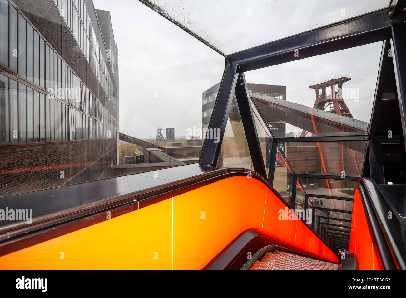 09.11.2017, Essen, North Rhine-Westphalia, Germany - World heritage site, Zollverein colliery, view from the coal wash through the glass roof of the e - Stock Image