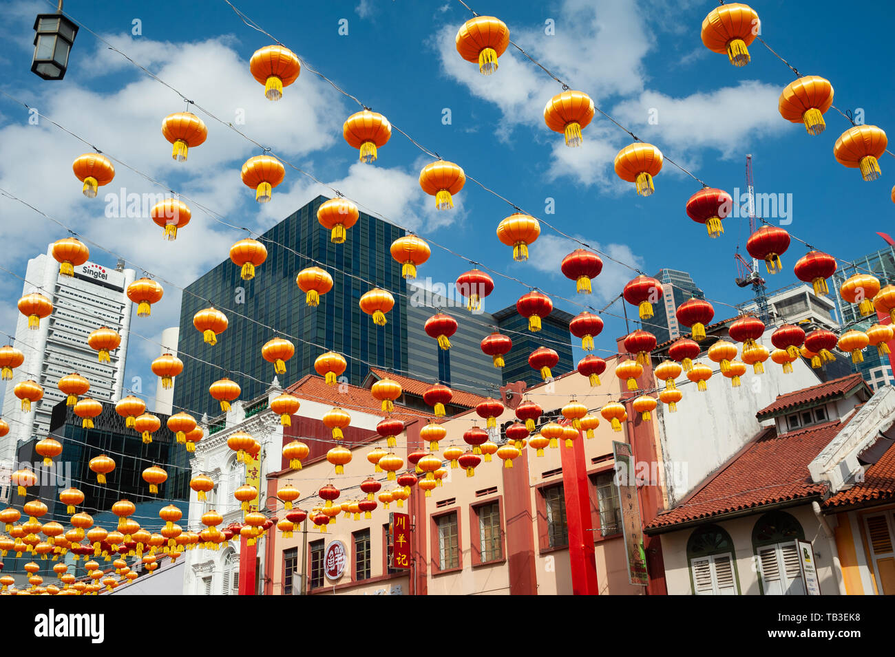 11.02.2019, Singapore, , Singapore - Annual street decoration with lanterns for the Chinese Lunar New Year festival along the South Bridge Road in Sin - Stock Image