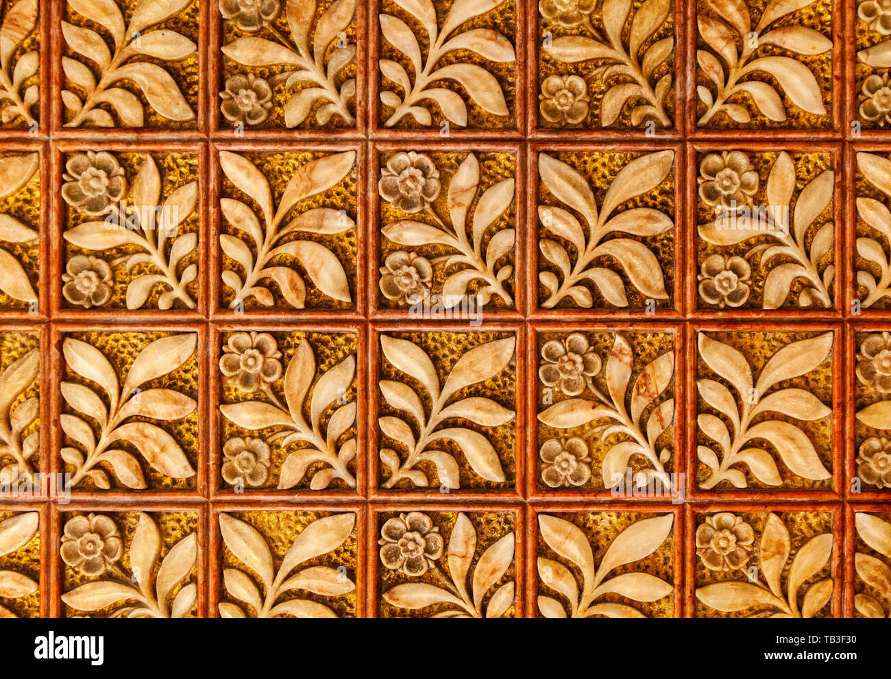 Symmetrical embossed leaves and flowers in squares - Stock Image