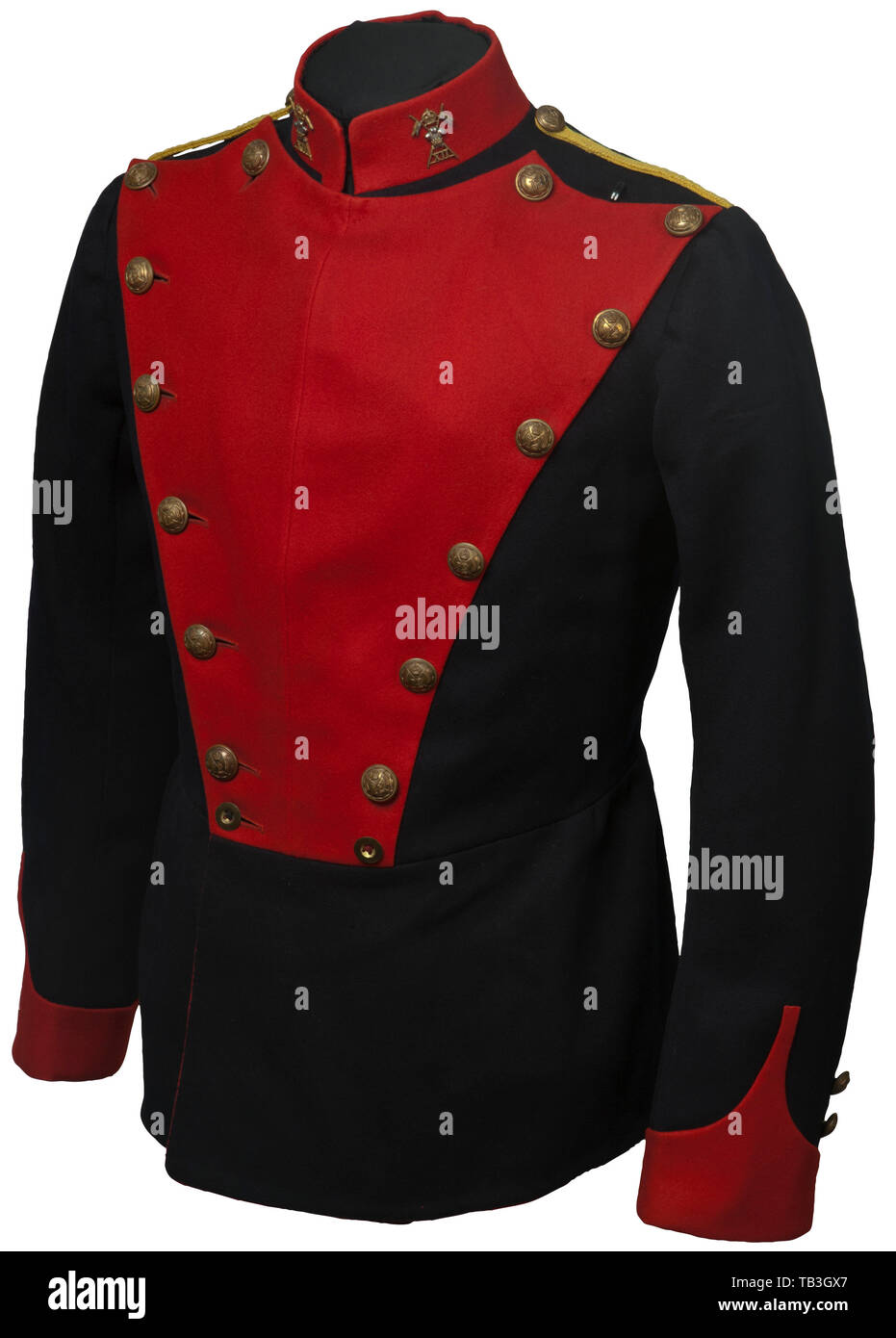 An English enlisted lancer's uniform for an individual in the 12th Lancer Regiment, Tunic of black cotton material with red piping on arms and back, red cotton collar with regimental insignia, yellow cord sewn in shoulder boards with 12th lancer buttons, gold regimental buttons, red parade rabatte, white cotton lining in tunic and black silk collar lining. 1914 dated. USA-lot. historic, historical 20th century, Additional-Rights-Clearance-Info-Not-Available Stock Photo