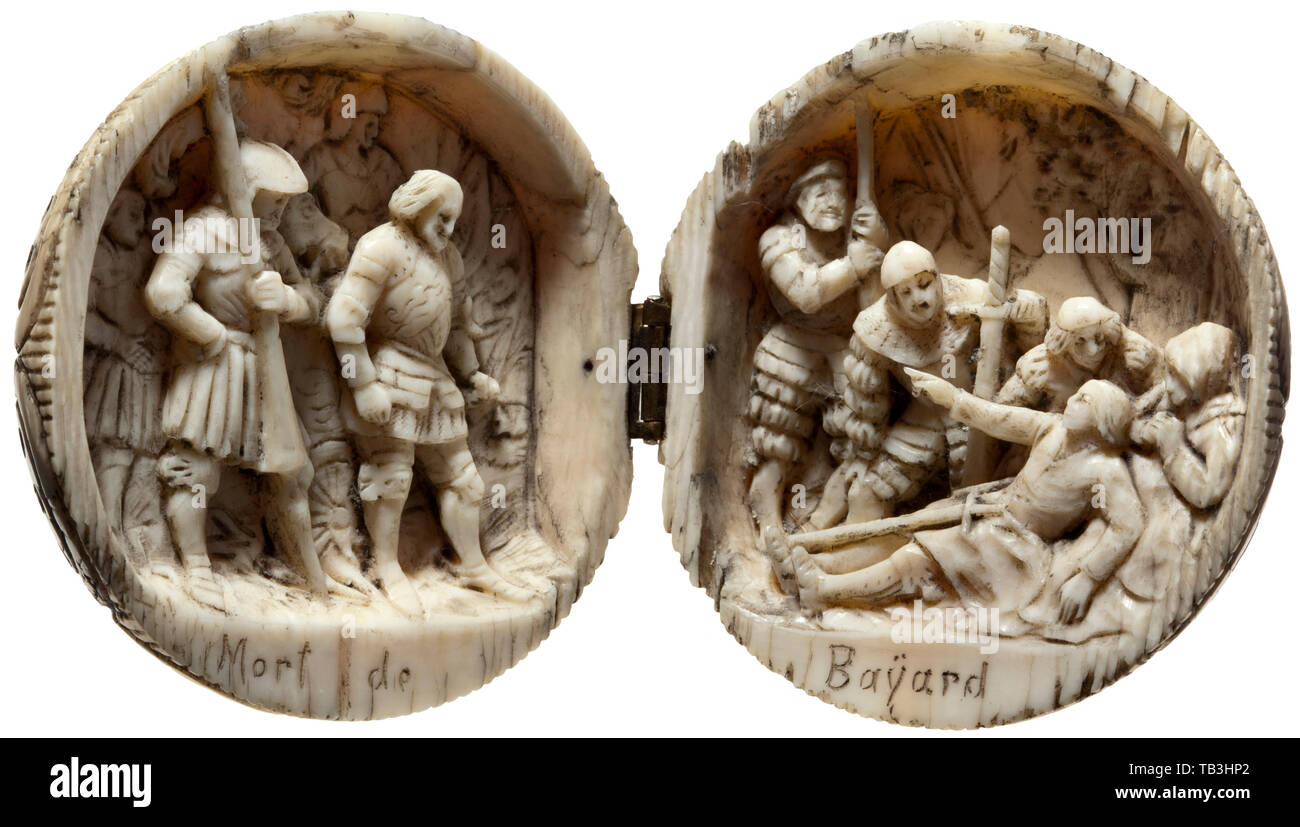 A French carved ivory ball, 19th century, A massive ivory ball that unfolds in the middle on a brass hinge, the outside carved with geometric décor. The interior intricately carved with a three-dimensional representation of Bayard's death scene in the midst of his soldiers. 'Mort de Bayard' inscribed at the bottom. Diameter 5.4 cm. Chevalier de Bayard was a well-known French general (1476 - 1524). handicrafts, handcraft, craft, object, objects, stills, clipping, clippings, cut out, cut-out, cut-outs, historic, historical 19th century, Additional-Rights-Clearance-Info-Not-Available - Stock Image
