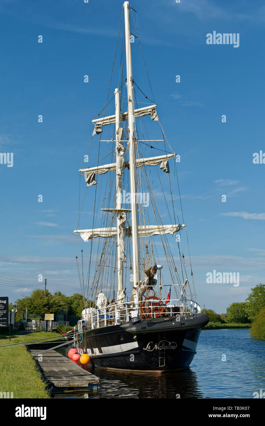La Malouine, French twin masted Brigantine built in Poland 1972  Moored at Purton on the Gloucester and Sharpness Canal, on it's way to the Gloucester Stock Photo