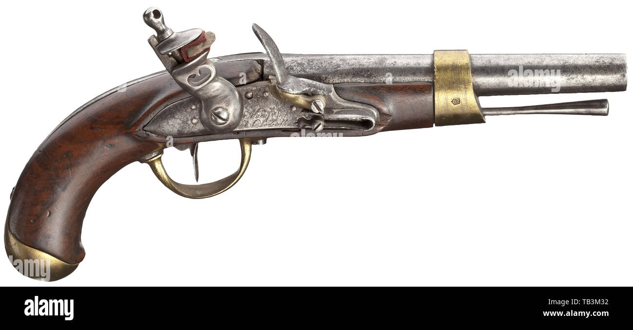 Small arms, pistols, flintlock cavalry pistol, calibre 17,5 mm, Maufacture Imperial de Charleville, France, 1810, Editorial-Use-Only Stock Photo