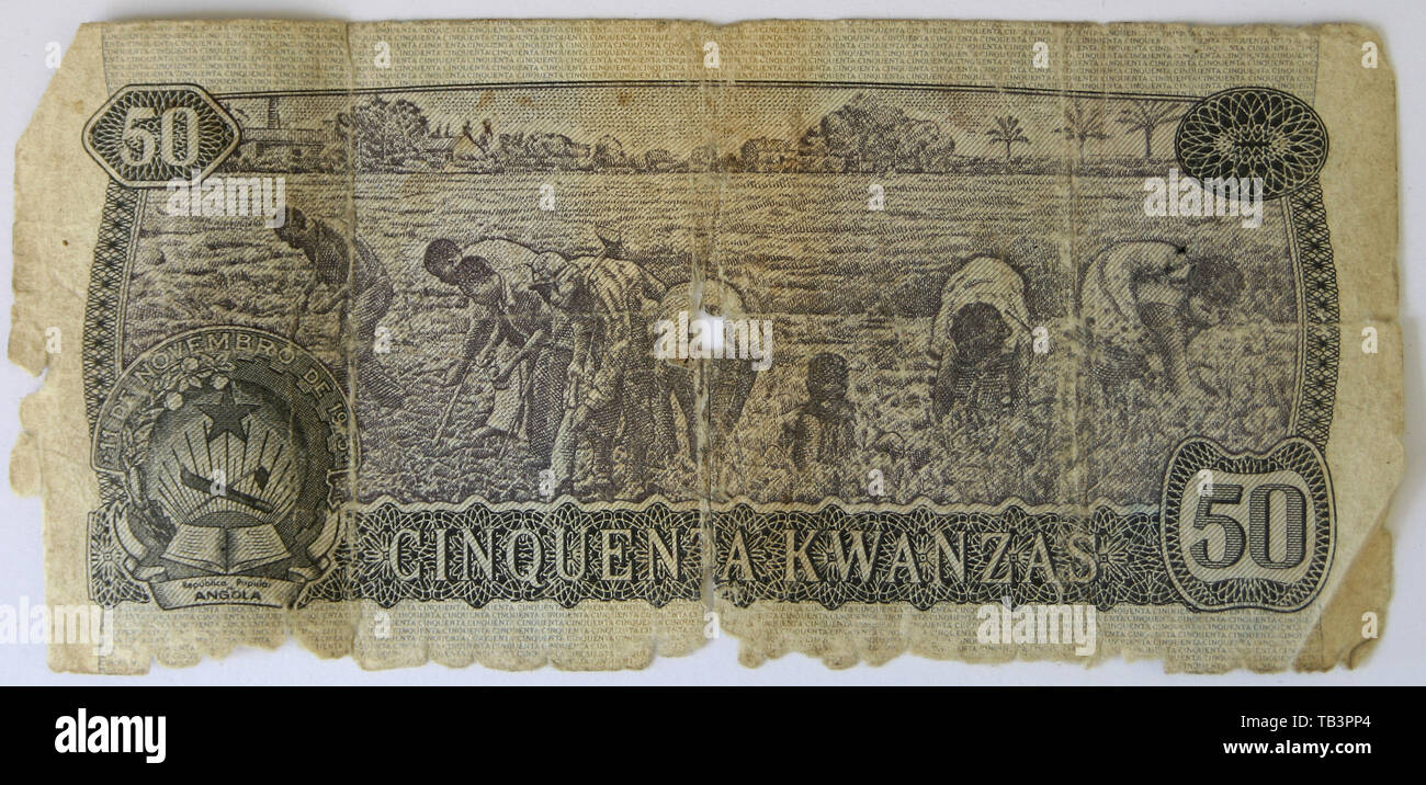 Currency, Angola, Banknote, Kwanzas, Fifty - Stock Image
