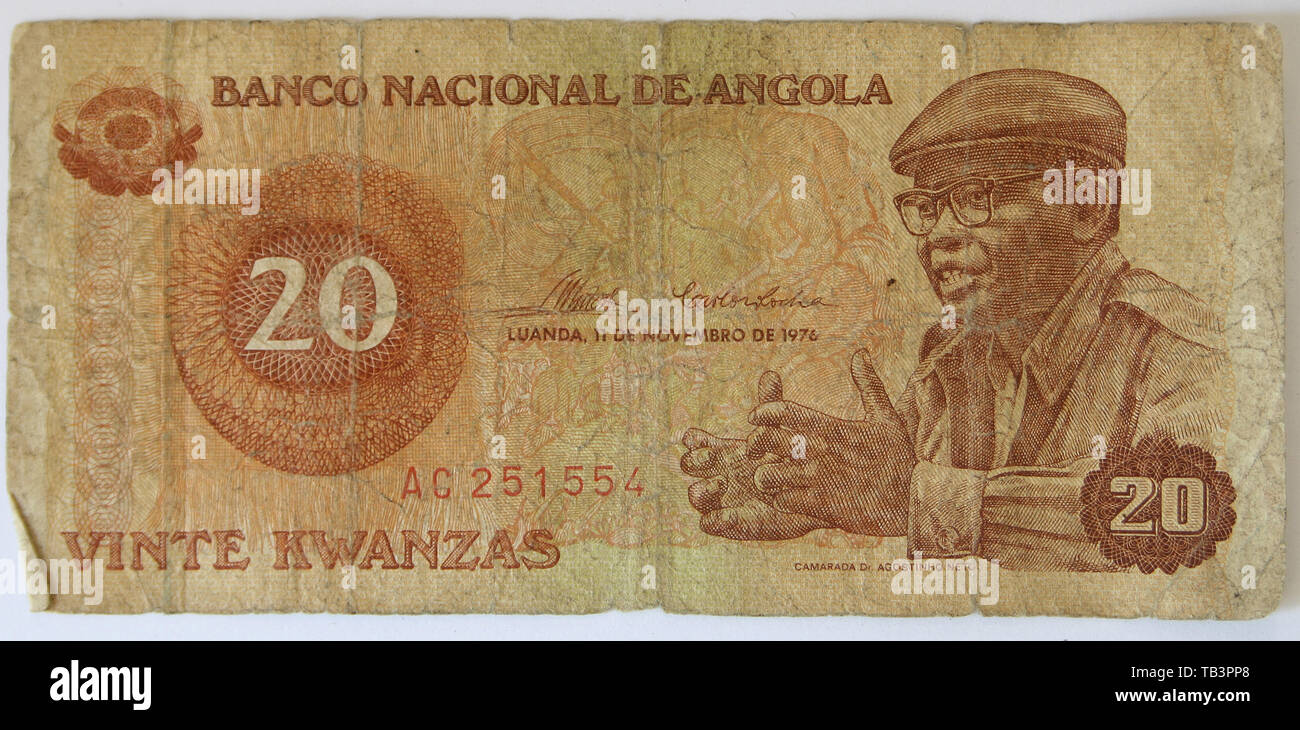 Currency, Angola, Banknote, Kwanzas, Twenty - Stock Image