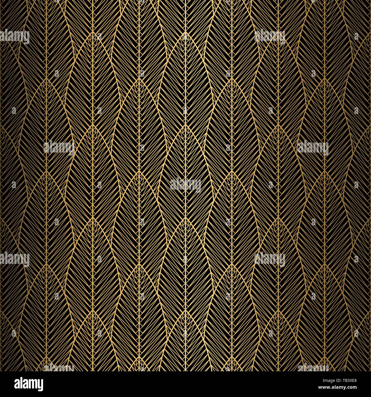 Art Deco Pattern Seamless Black And Gold Background
