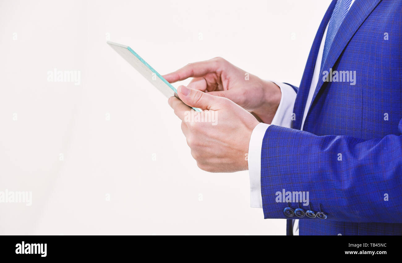 Smart system control. Digital technology. Wireless technology. Get access network. Future technology virtual surface. Business and technologies concept. Tablet portable computer in hands of manager. - Stock Image
