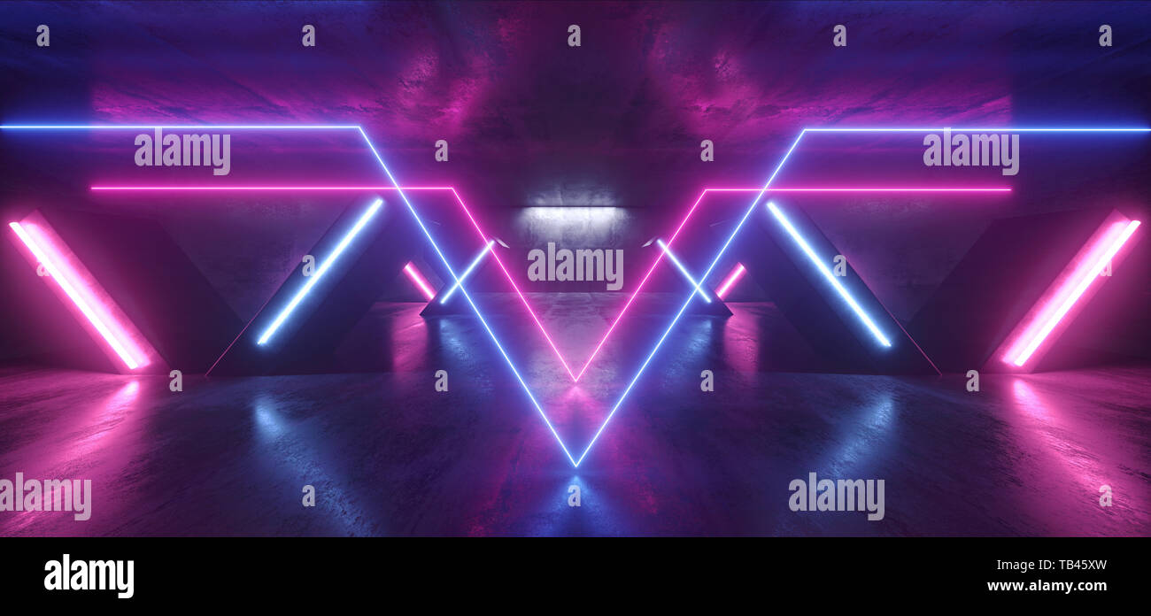 Sci Fi Neon Lights Glowing Purple Blue Columns X Shaped In