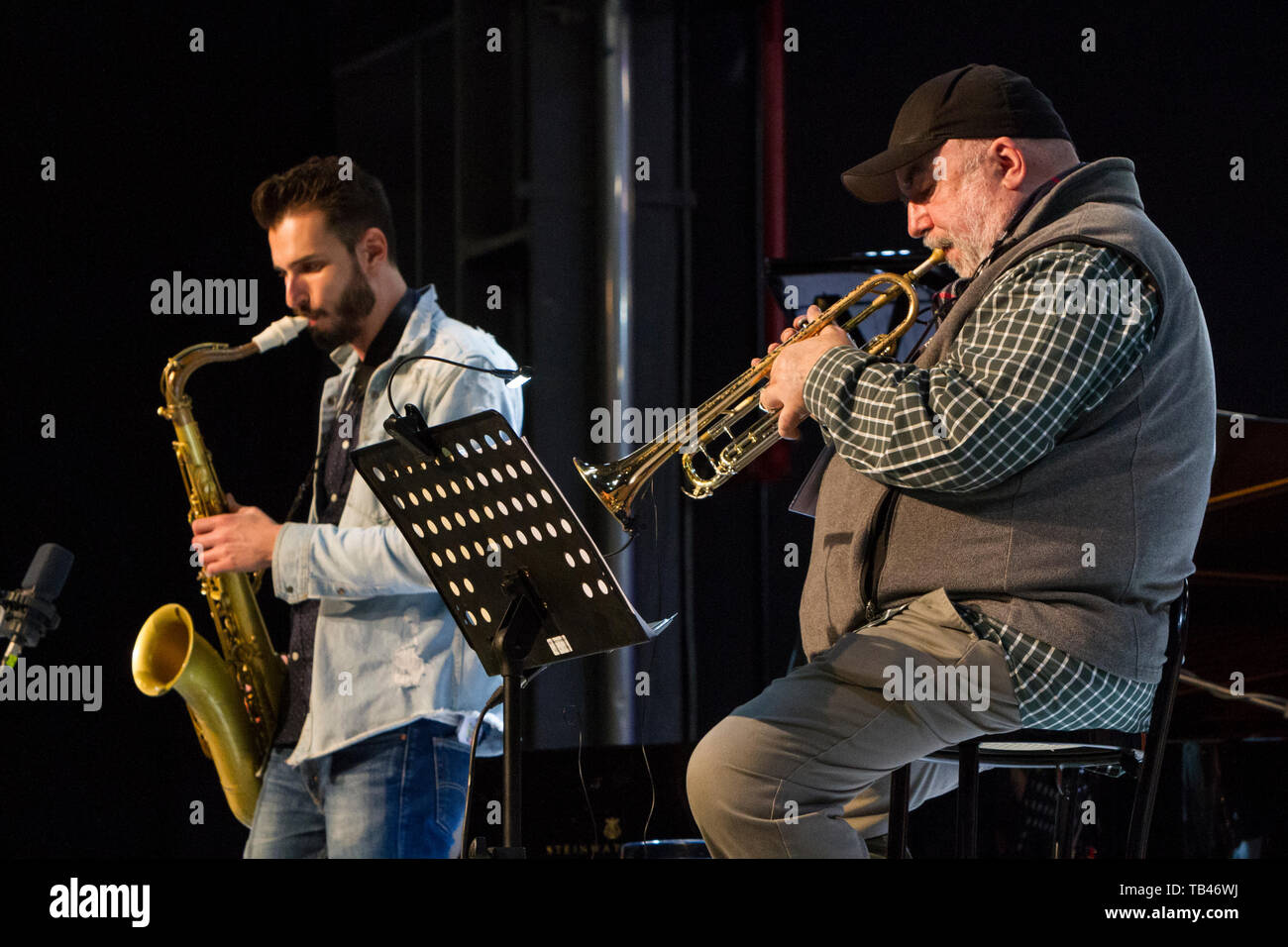American saxophonist Chad Lefkowitz-Brown (left) and trumpeter Randy Brecker (right) on stage at 2019 Torino Jazz Festival Stock Photo