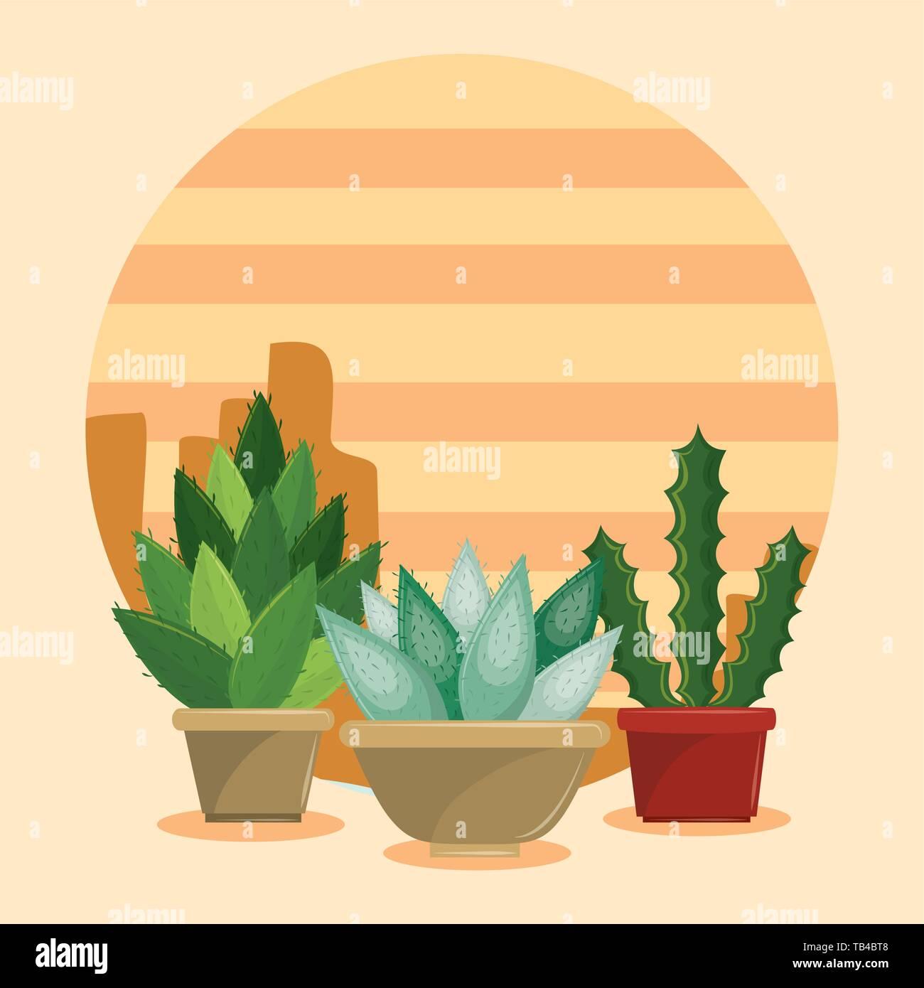 Cactus Succulents In Pot On Desertscape Stock Vector Image Art Alamy