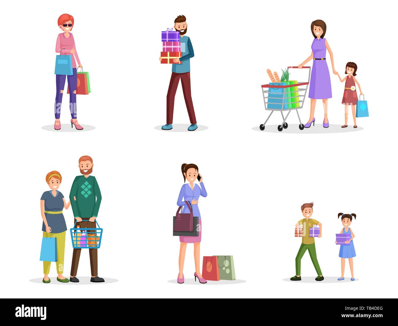 Happy Shoppers Flat Vector Characters Set Male Female Buyers