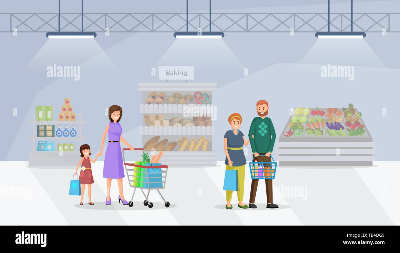 4799e4ce4fa42 Shoppers in supermarket flat vector illustration. Customers visiting baking  department in shopping mall. Mother
