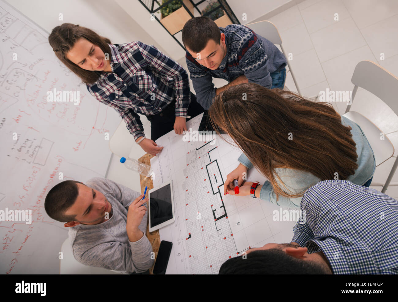 A debate about the gains and losses of the current plan between the bussines group. - Stock Image