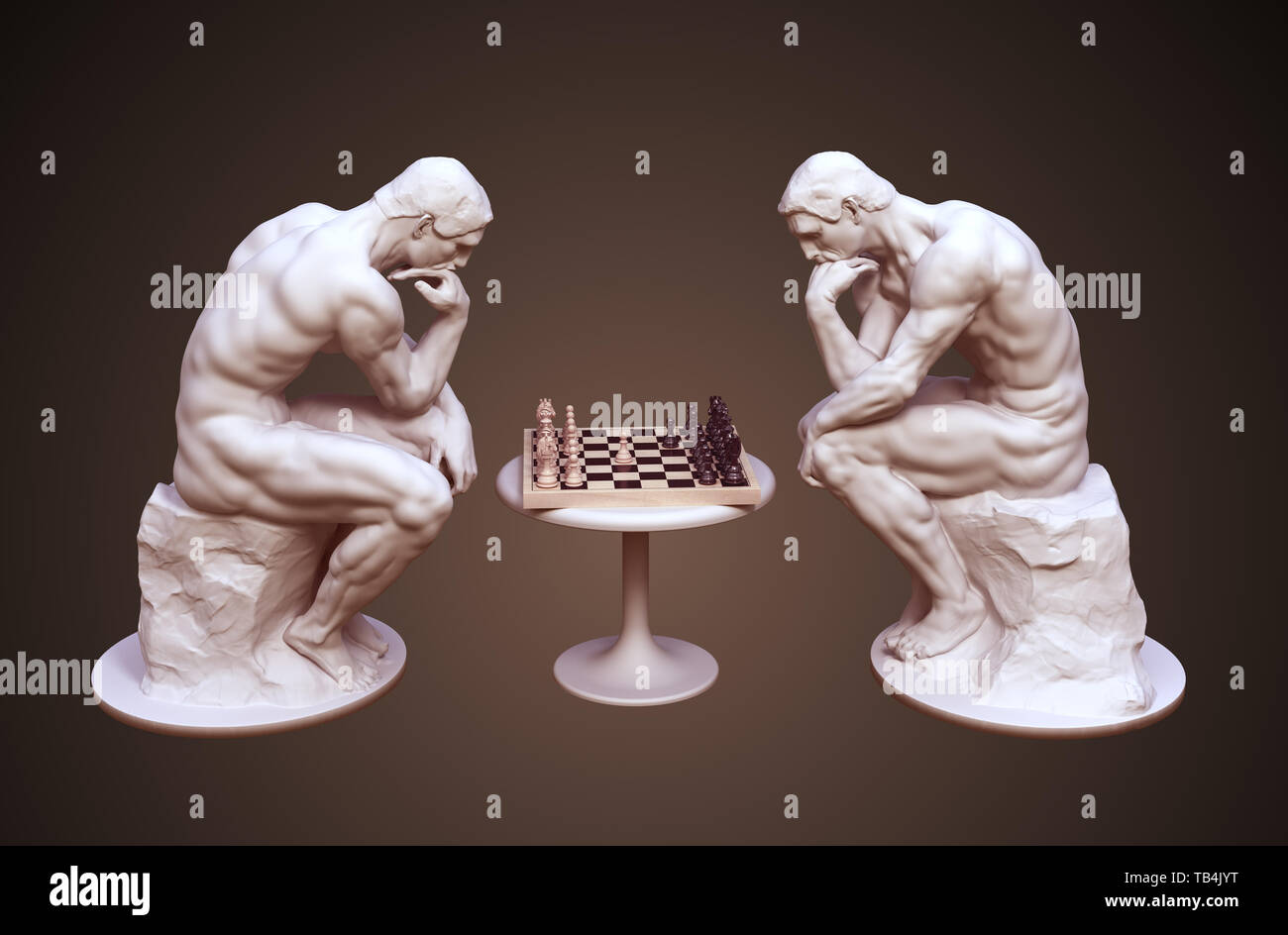 Two Thinkers Pondering The Chess Game On Brown Background. 3D Illustration. - Stock Image
