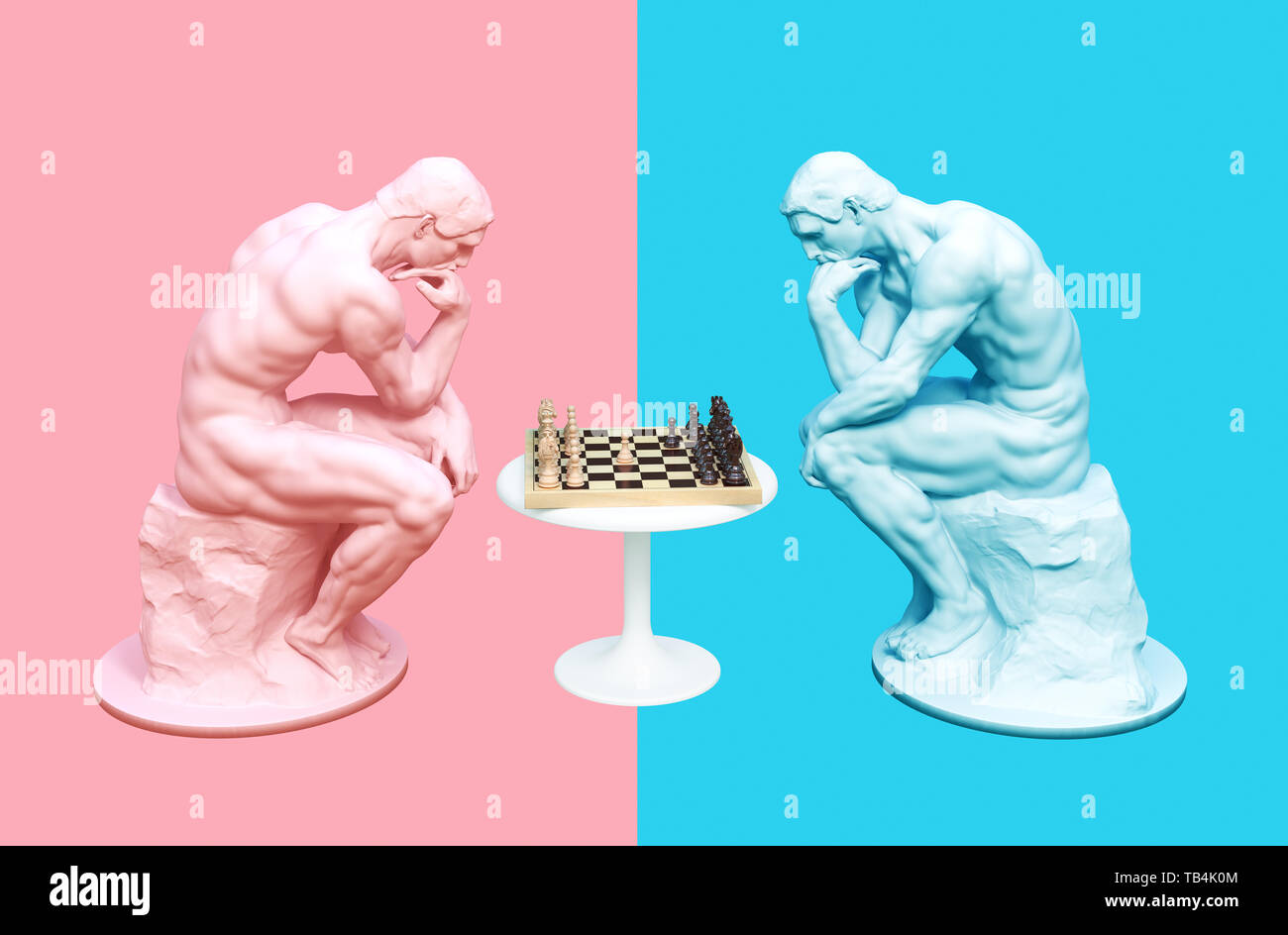 Two Thinkers Pondering The Chess Game On Pink And Blue Backgrounds. 3D Illustration. - Stock Image