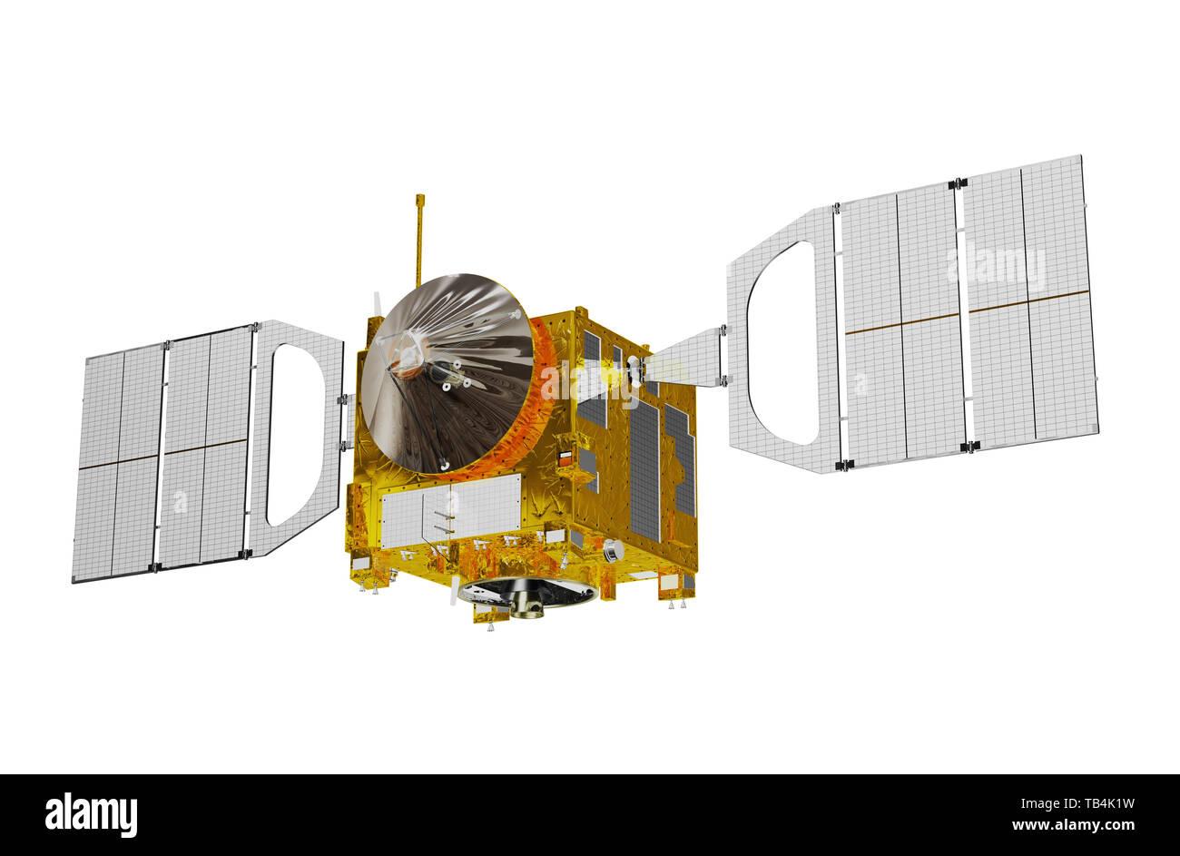 Interplanetary Space Station Isolated On White Background. 3D Illustration. - Stock Image