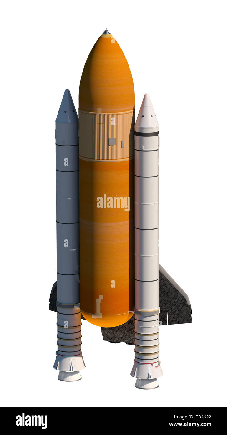 American Space Shuttle Isolated Over White Background. 3D Illustration. - Stock Image