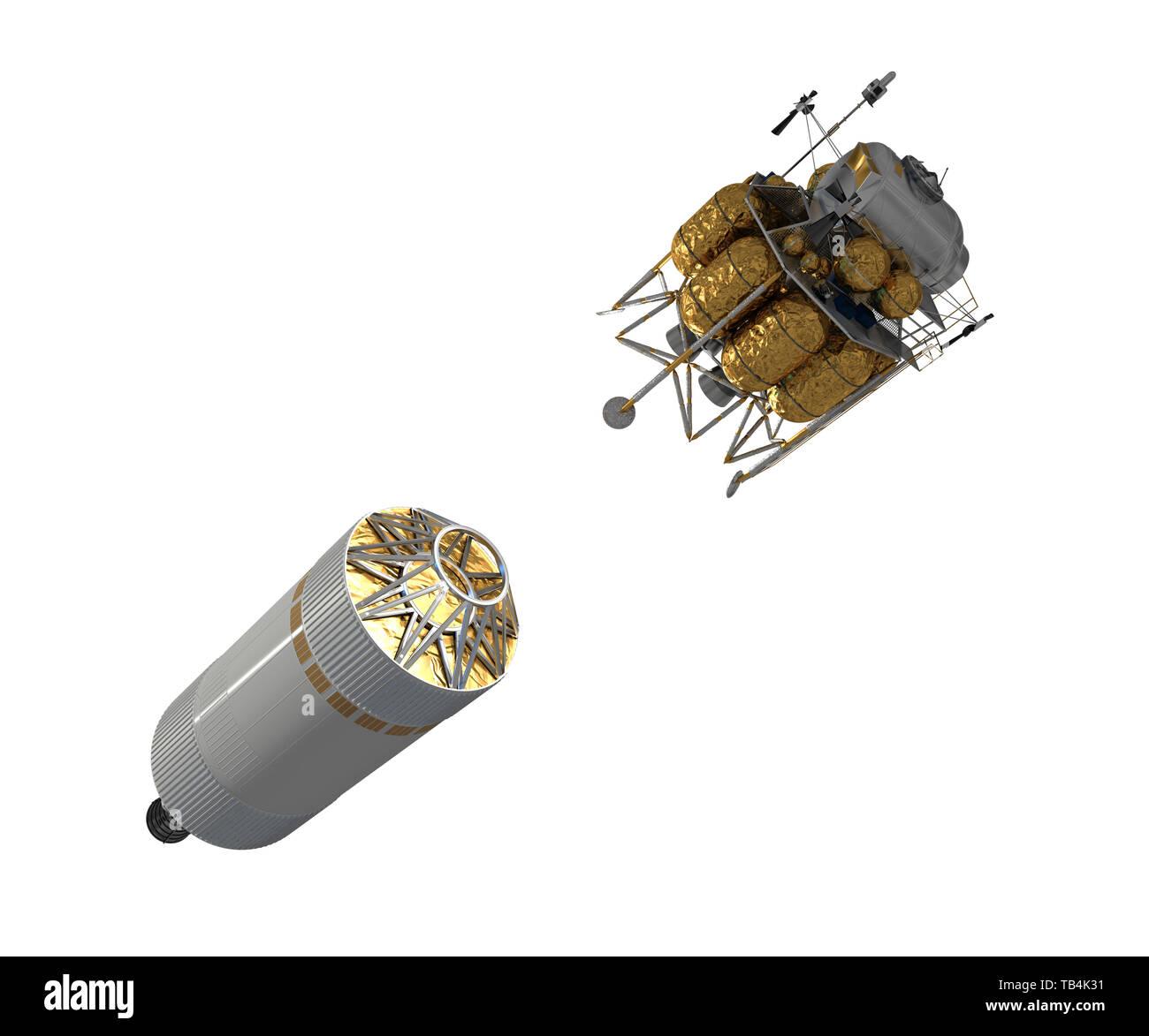 Crew Exploration Vehicle Launch Isolated On White Background. 3D Illustration. - Stock Image