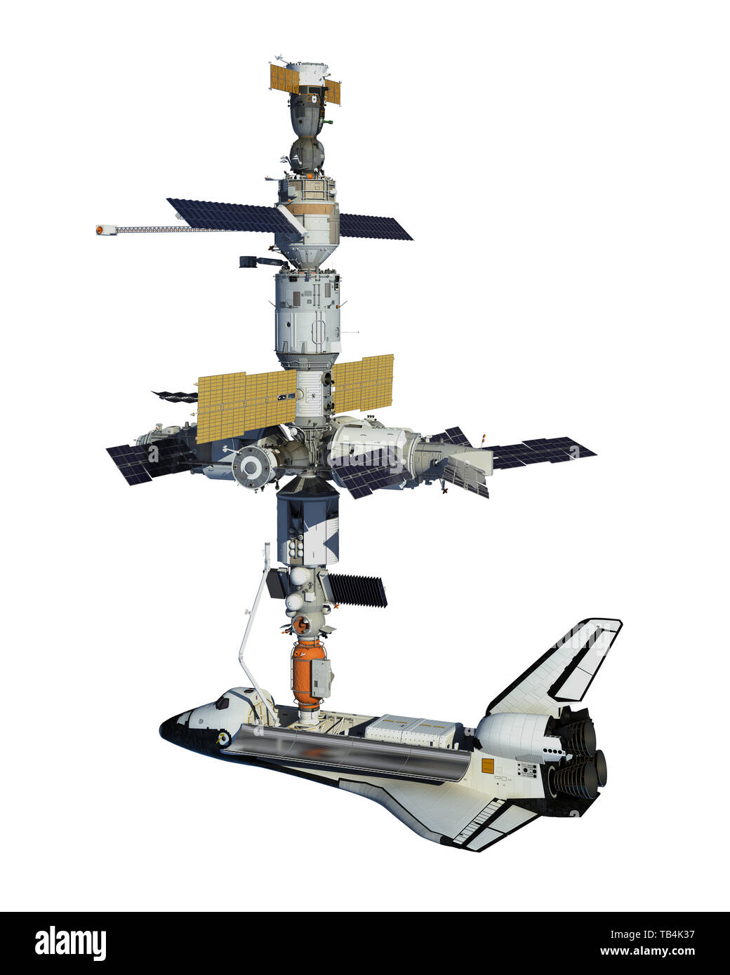Space Shuttle And Space Station Isolated On White Background. 3D Illustration. - Stock Image