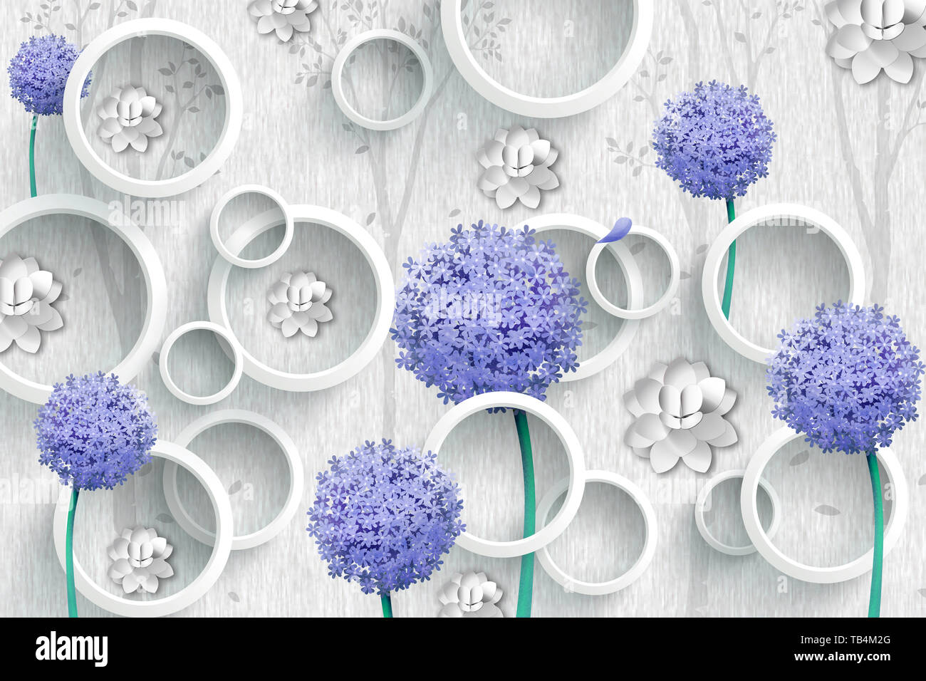 3d wallpaper abstract background with gray circles and purple flowers TB4M2G