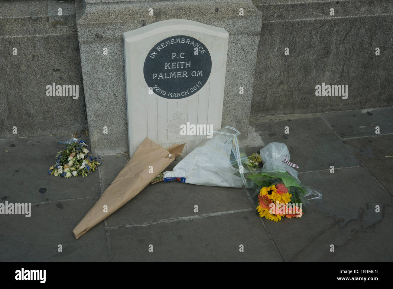 Memorial to PC Keith Palmer GM, killed during a terrorist attack on the Houses of Parliament in Westminster,London,England,UK Stock Photo