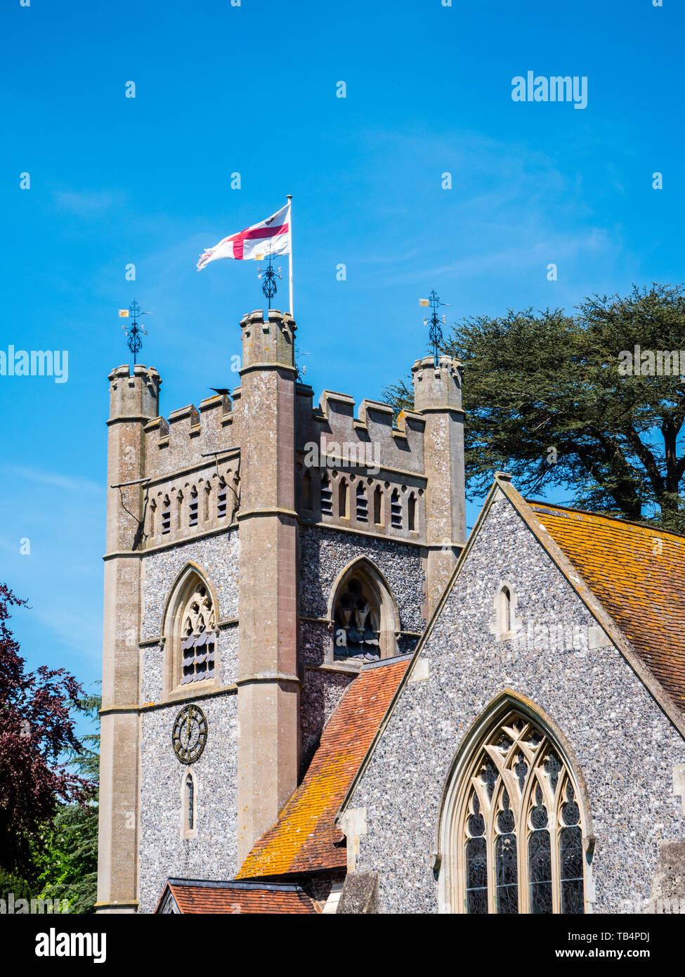 St Mary the Virgin Church Hambleden, used in TV Show Good Omens, Buckinghamshire, England, UK, GB. - Stock Image
