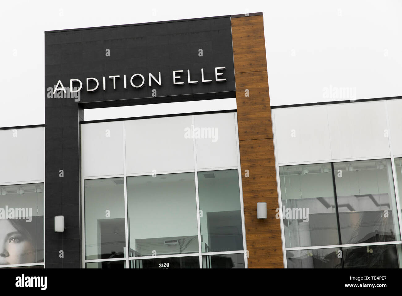 A logo sign outside of a Addition Elle retail store location in Vaudreuil-Dorion, Quebec, Canada, on April 21, 2019. - Stock Image