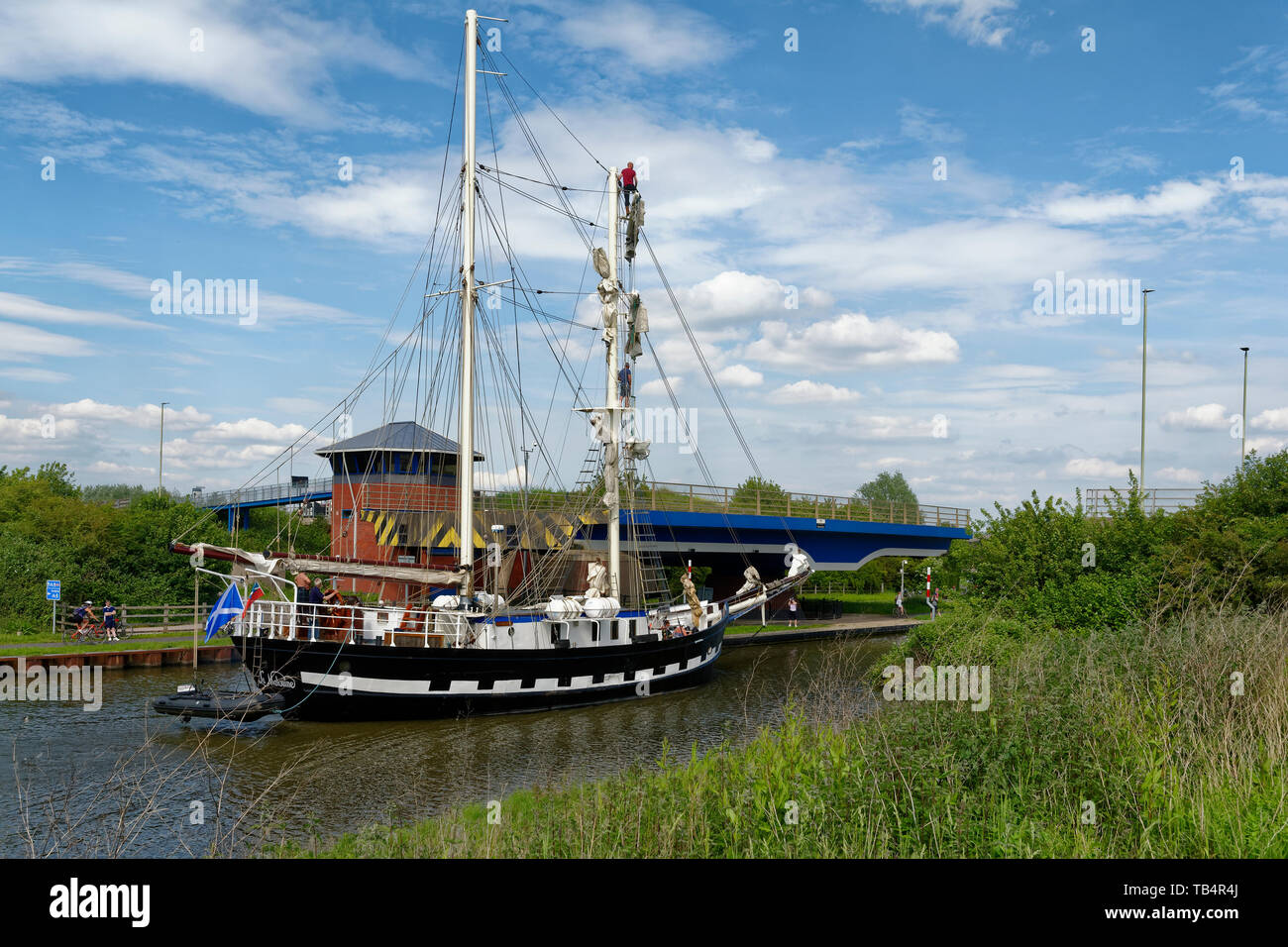 La Malouine, French twin masted Brigantine built in Poland 1972  On the Gloucester and Sharpness Canal at Netheridge Bridge, on it's way to the Glouce Stock Photo