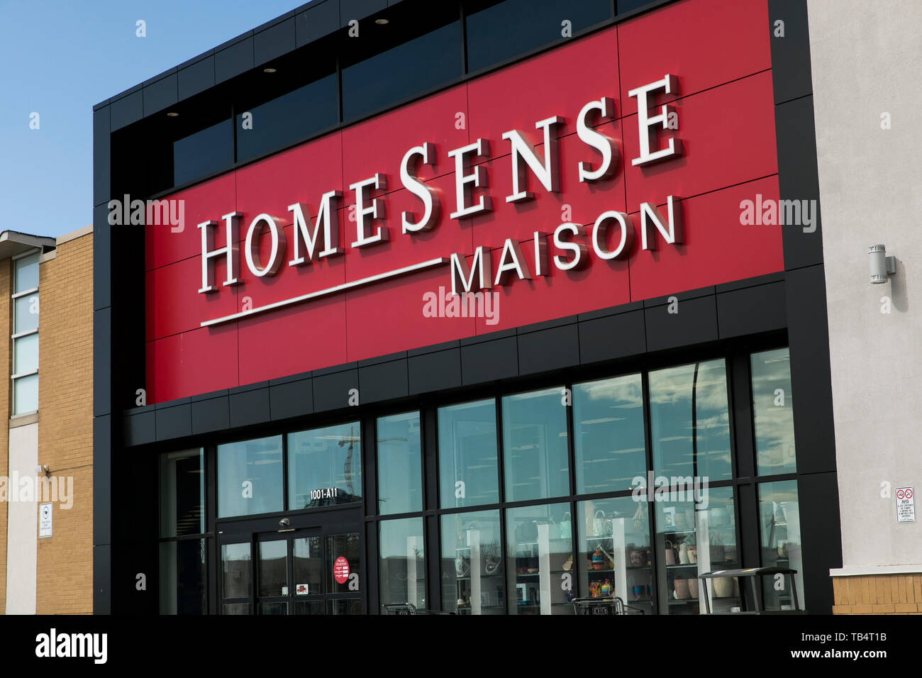 A logo sign outside of a HomeSense retail store location in
