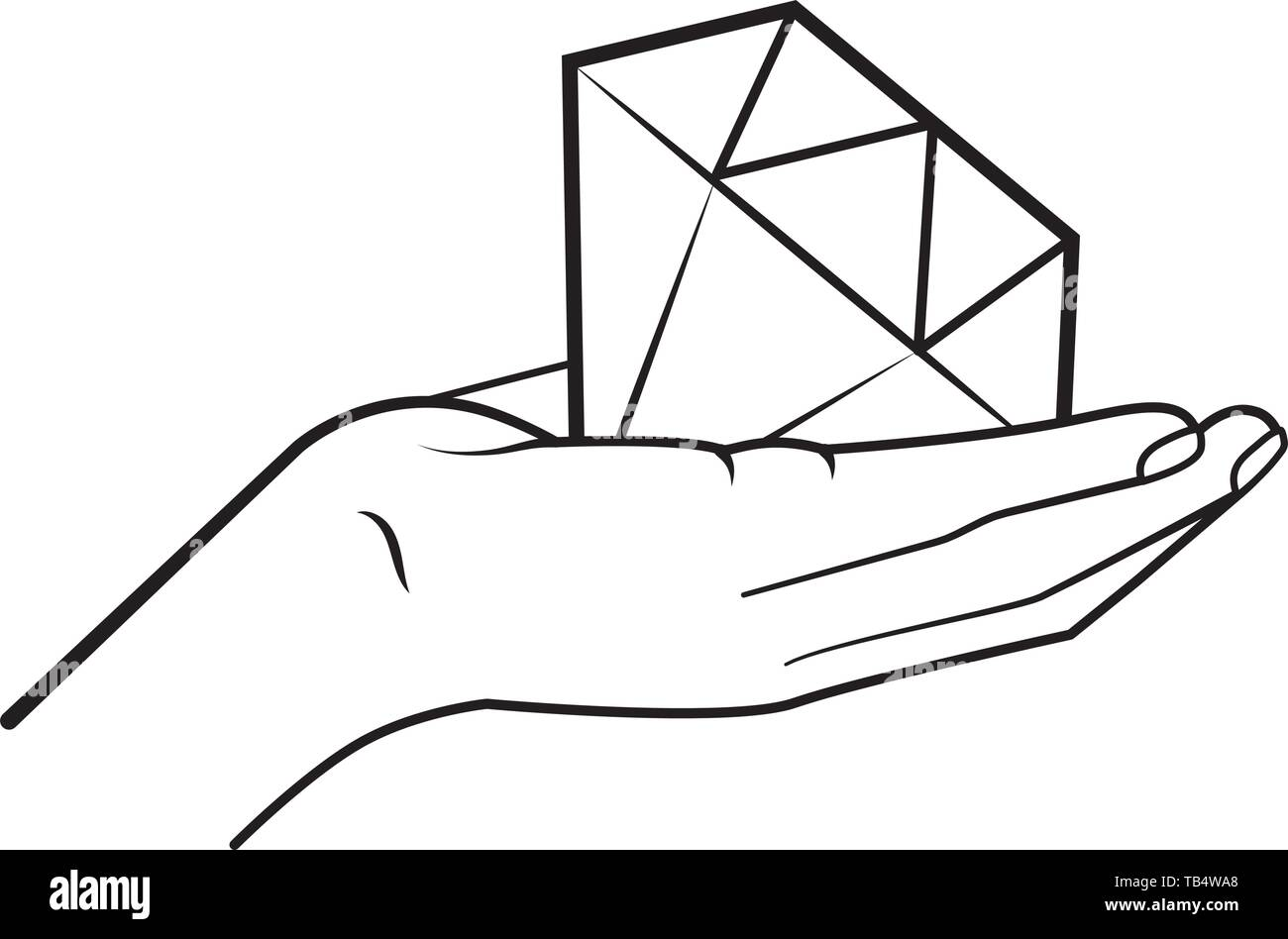 hand holding diamond icon cartoon black and white vector illustration graphic design - Stock Image
