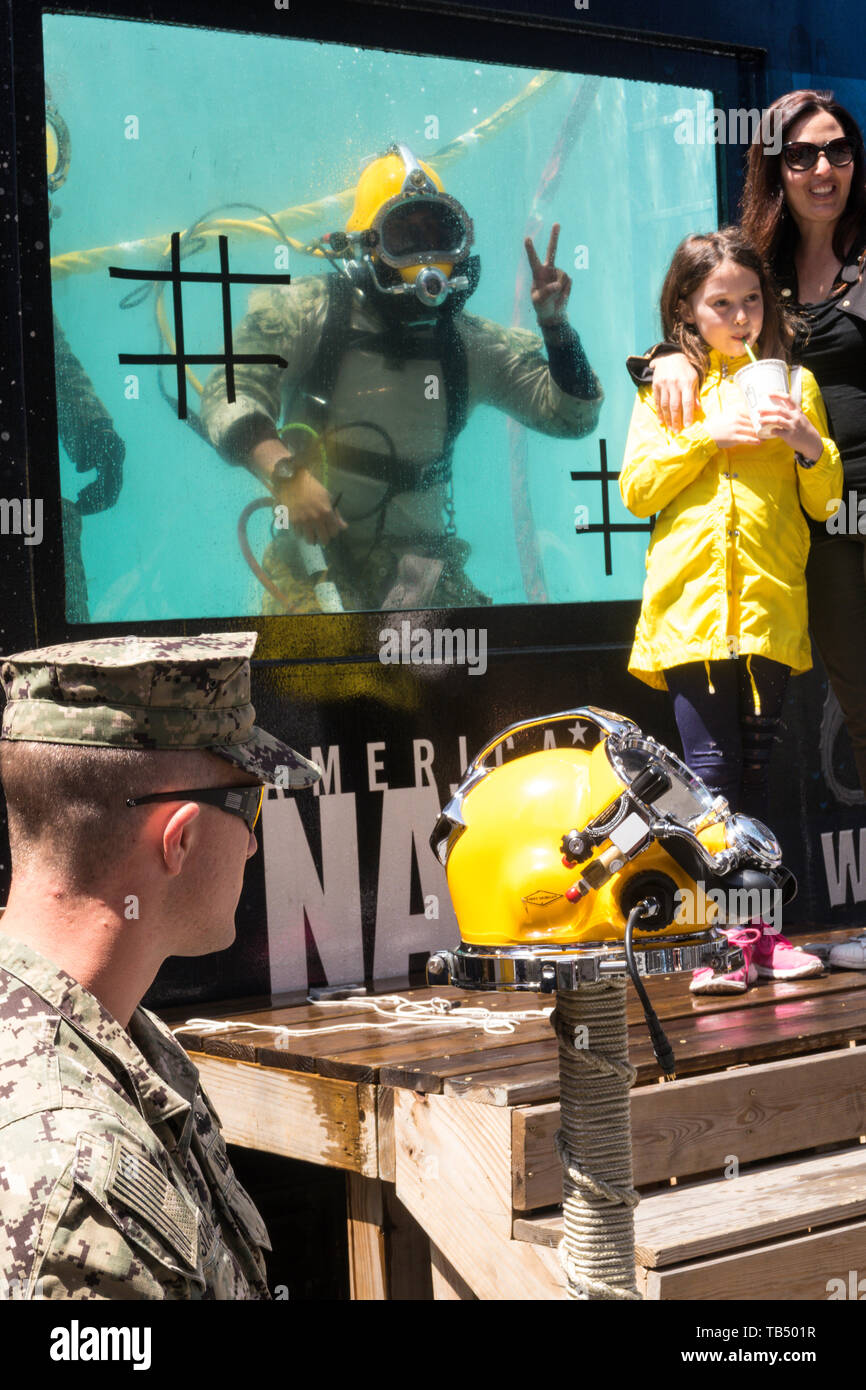 Underwater diving display, Fleet  Week 2019, Times Square, NYC, USA - Stock Image