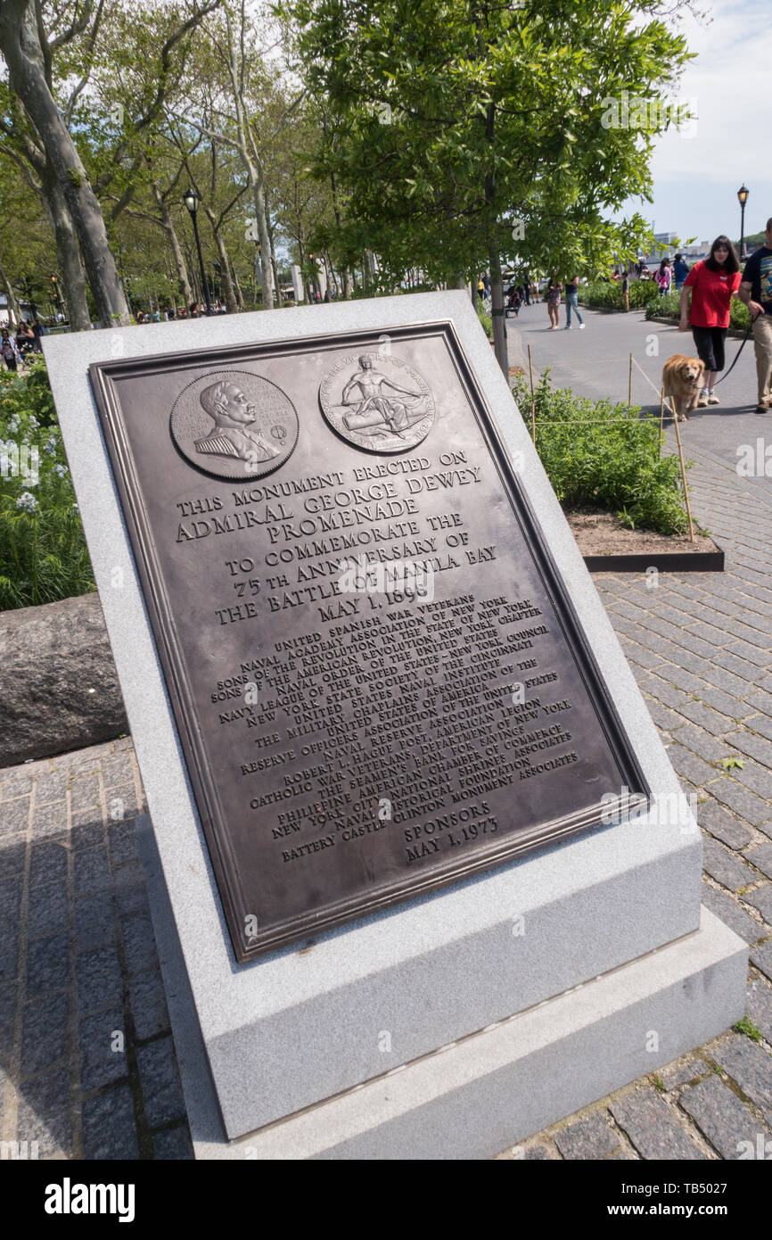 Plaque Honoring George Dewey,Admiral of the Navy, for His Victory at the Battle of Manila Bay During the Spanish -American War, Battery Park, NYC, USA - Stock Image