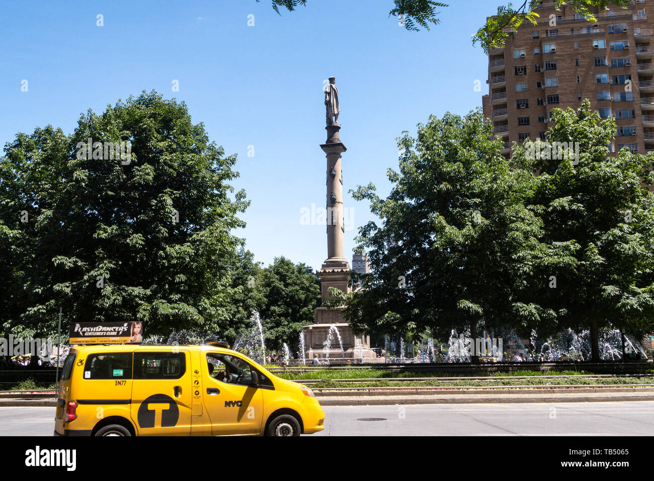 Columbus Circle in the Spring, NYC, USA Stock Photo