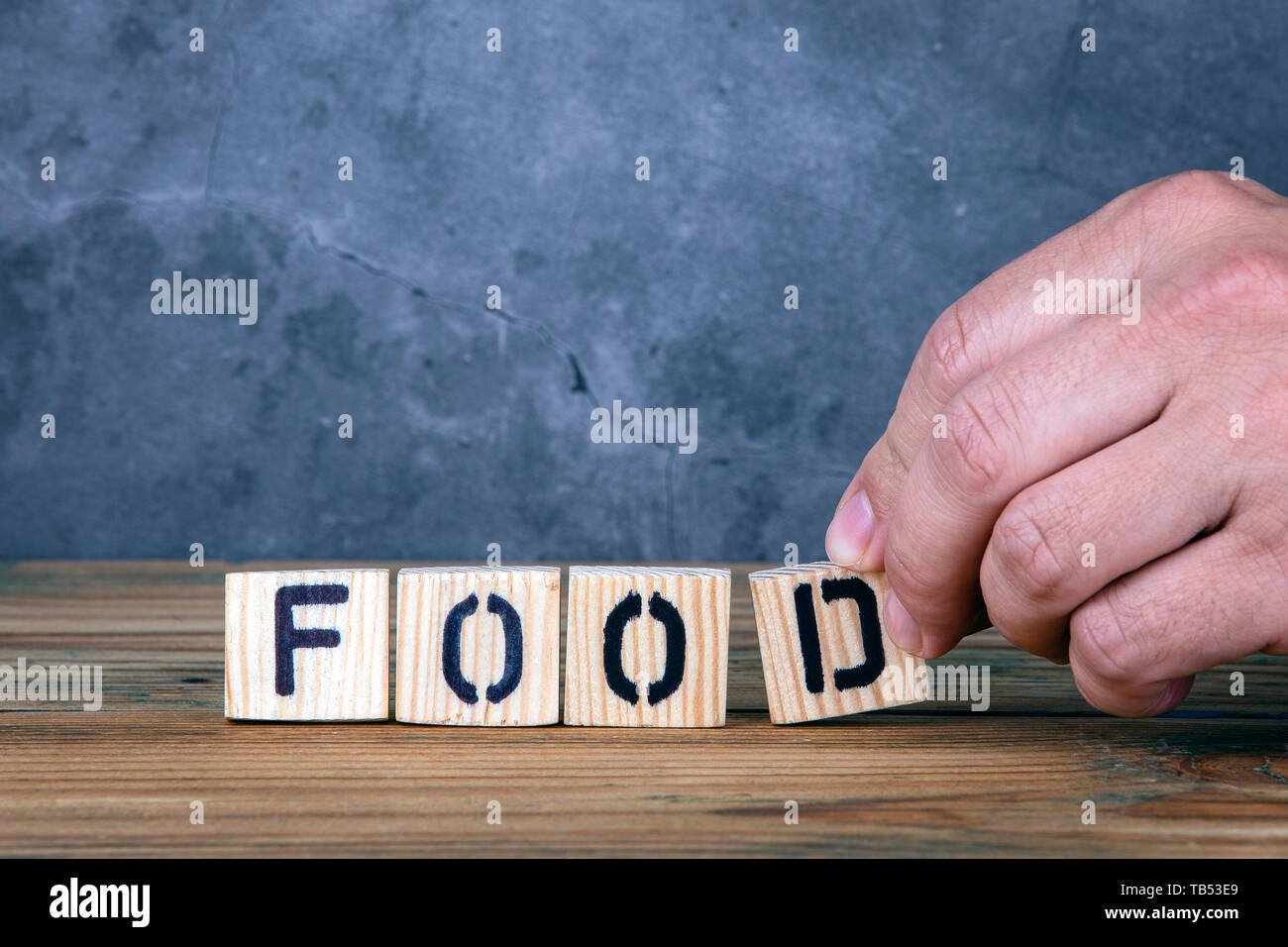 Food - word from wooden letters - Stock Image