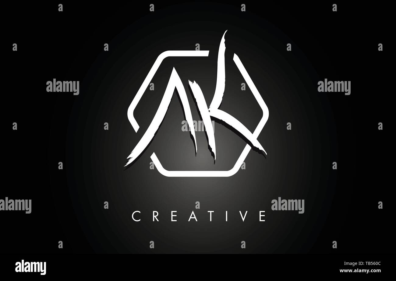 Ak A K Brushed Vector Letter Logo Design With Creative