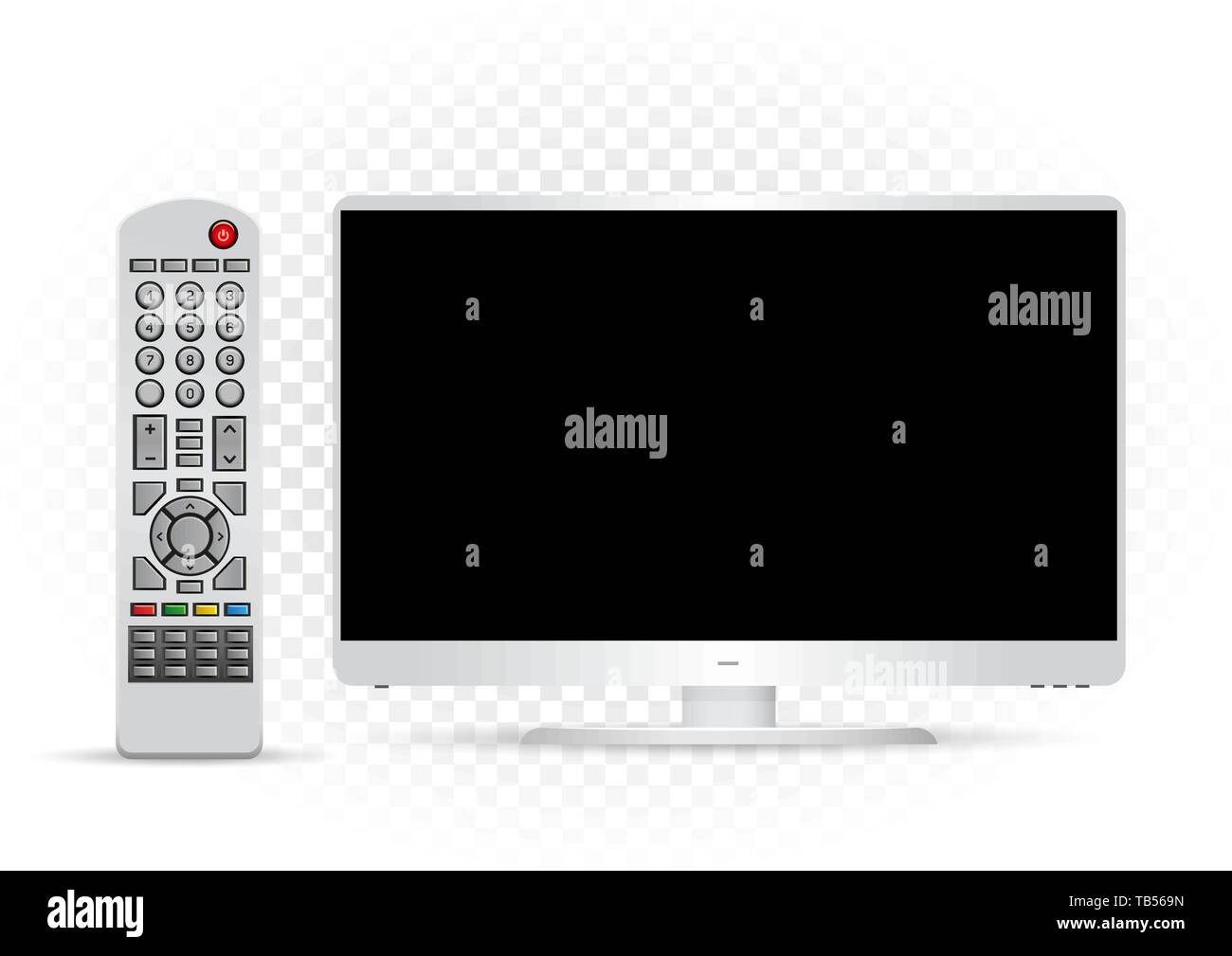 white TV with remote control - Stock Image