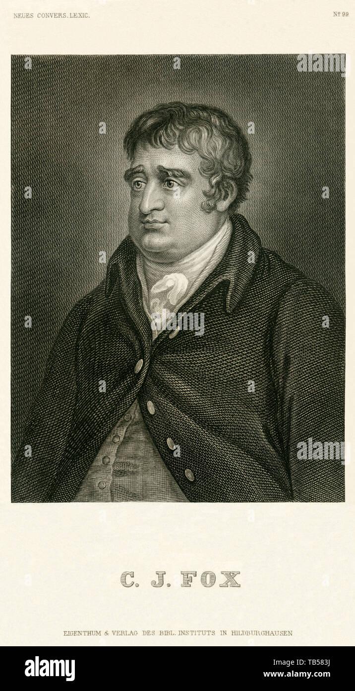 Europa, Großbritannien, London, Charles James Fox, britischer Politiker, Stahlstich, Verlag Bibl. Institut in Hildburghausen , 1850er Jahre . /  Europ - Stock Image