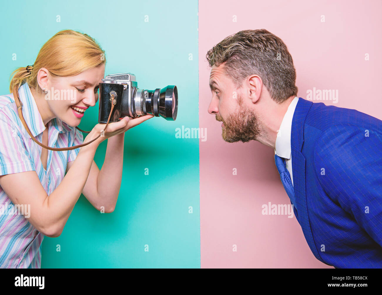 Enjoying Photo Shoot Session Photographer Shooting Male Model In Studio Pretty Woman Using Professional Camera Businessman Posing In Front Of Female Photographer Fashion Shooting In Photo Studio Stock Photo Alamy