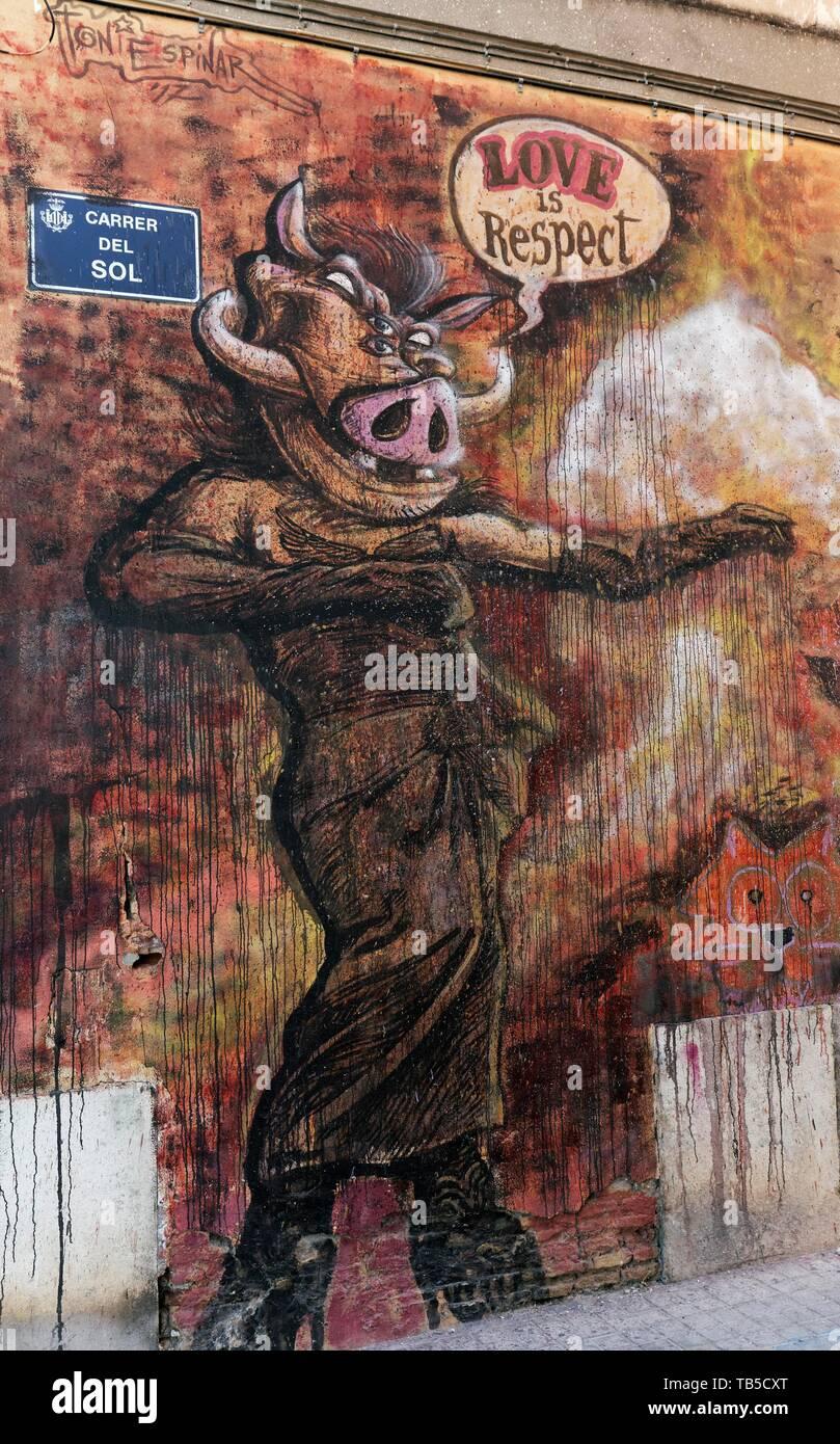 Dancing Eber, Love is respect, mural by Toni Espinar, Streetart, Cabanyal, Valencia, Spain - Stock Image