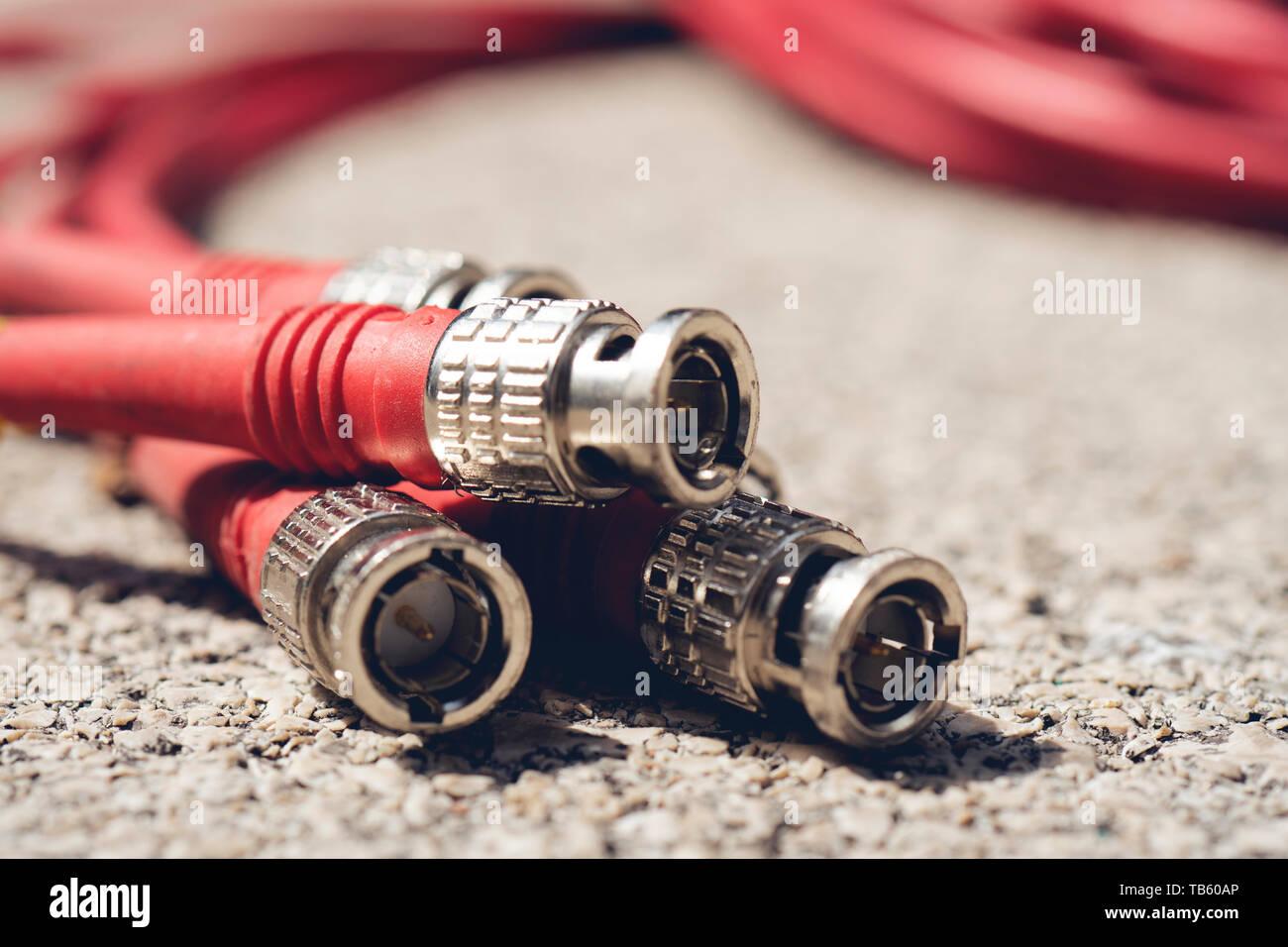 BNC Connectors Coaxial Red Cables Closeup Stock Photo