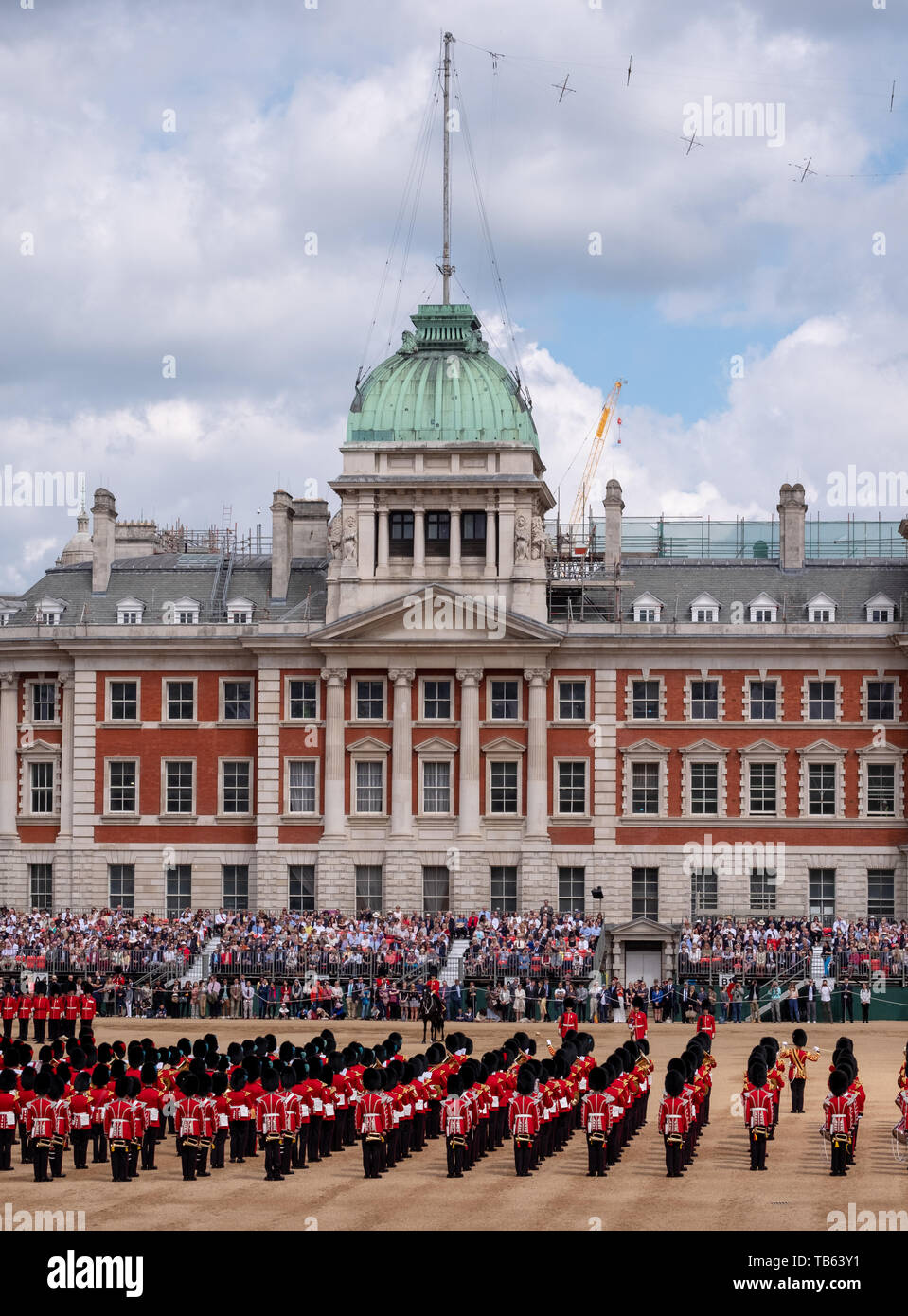 Trooping the Colour, military ceremony at Horse Guards, Westminster UK with the Household Division in their bearskins, musicians from the massed bands - Stock Image