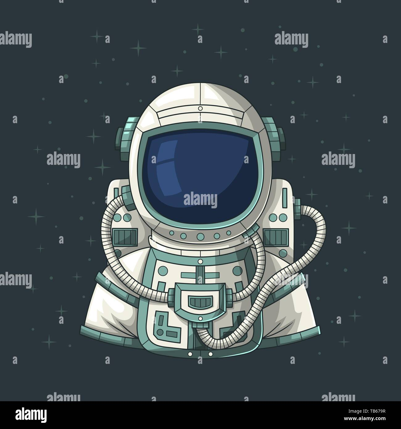 Astronaut or cosmonaut in space, Hand drawn vector illustration.  - Stock Image