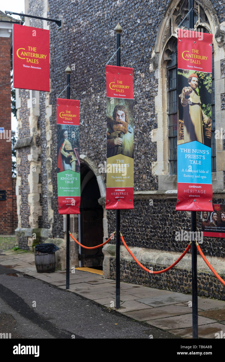 Geoffrey Chaucer Museum, Canterbury Tales visitor attraction, Canterbury, Kent, England, UK - Stock Image