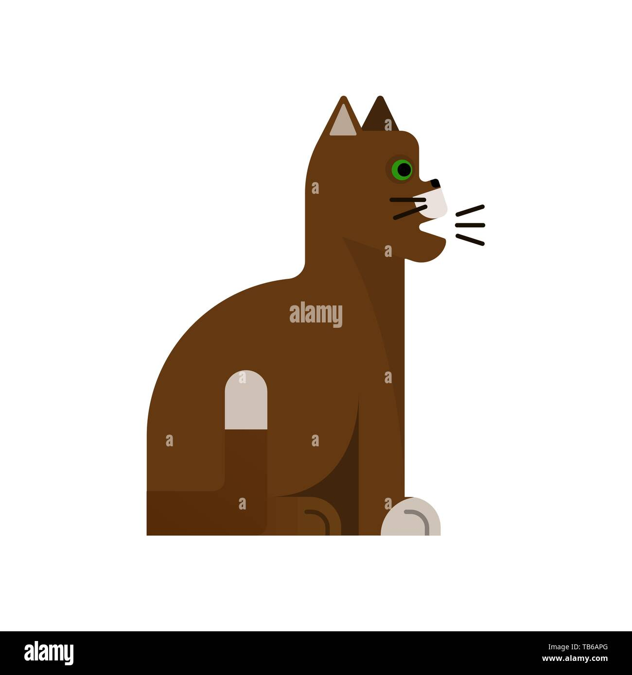 Brown cat sings. Flat icon. Vector illustration design. Pet sits. White background - Stock Vector