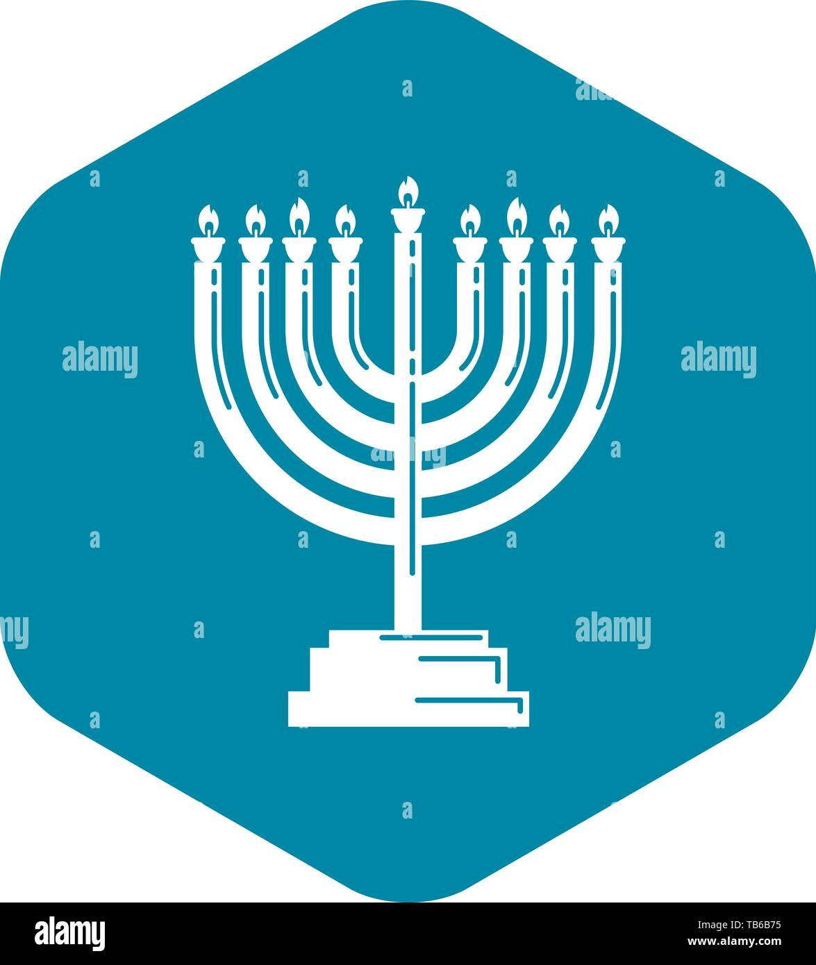 Menorah icon, simple style - Stock Vector