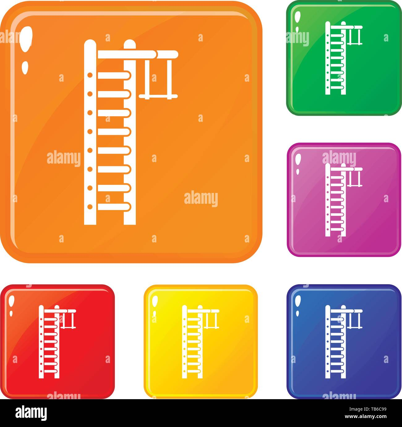 Swedish ladder icons set vector color - Stock Image