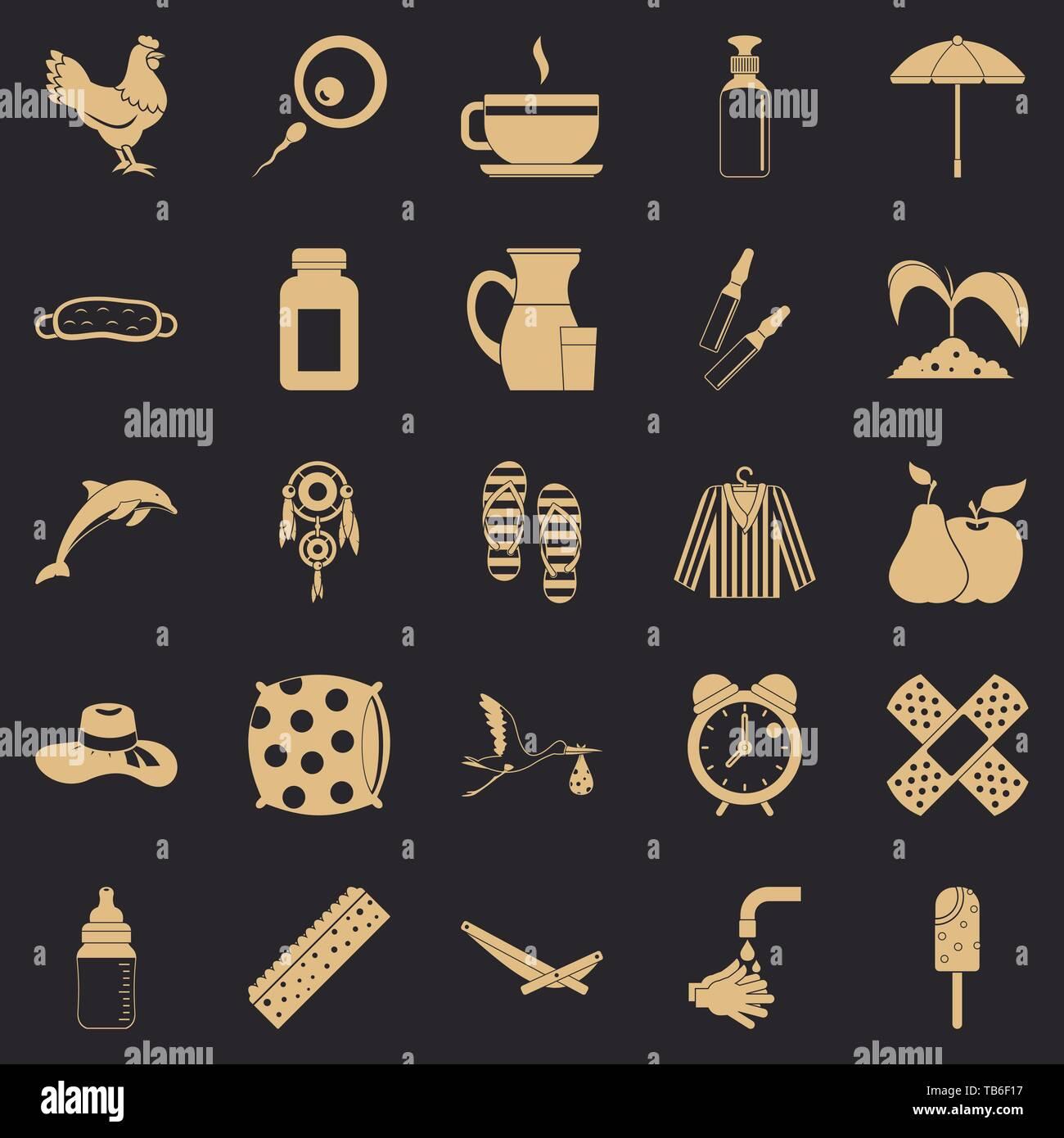 Kid viability icons set, simple style - Stock Image