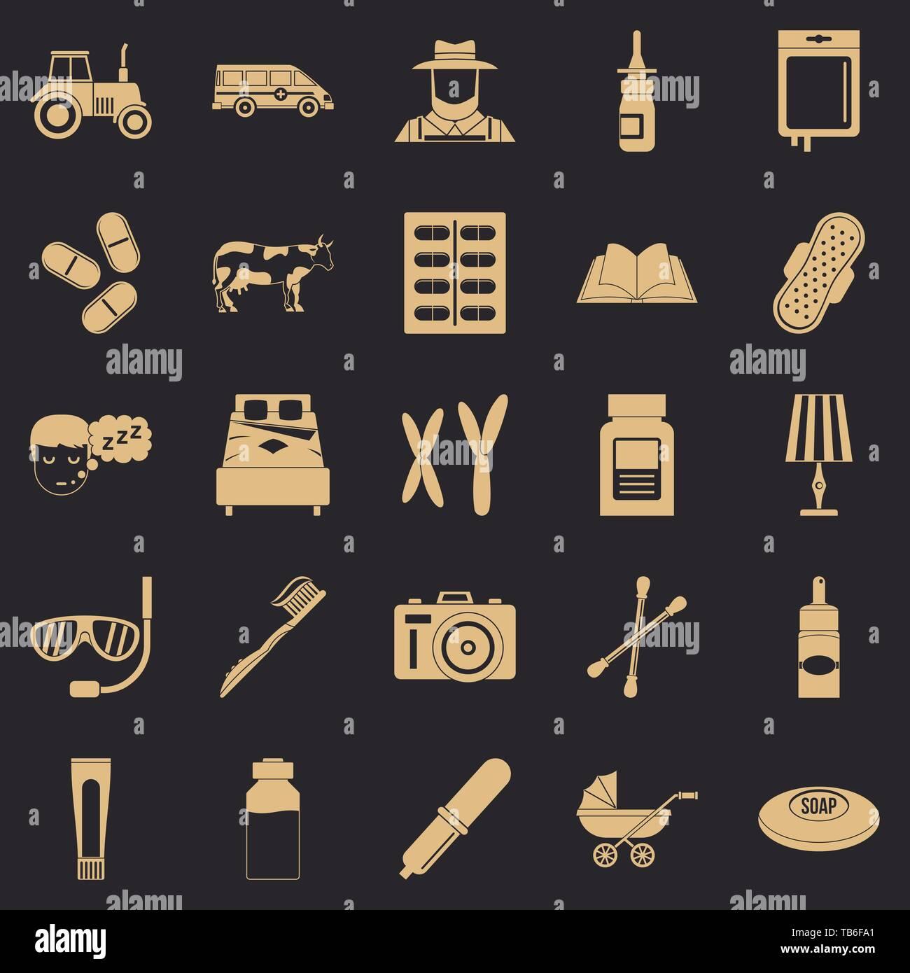 Child education icons set, simple style - Stock Image