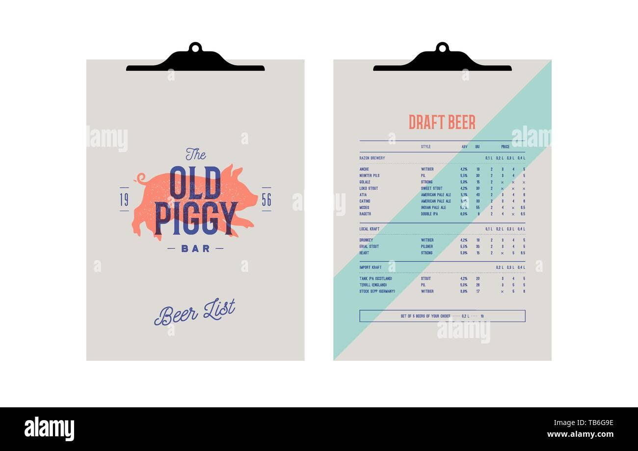 Brand identity set for Beer Bar, Pub  Old school vintage